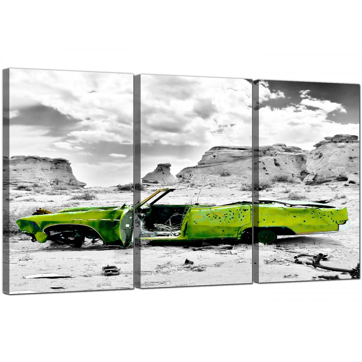abstract lime green grey car desert landscape canvas 3 piece 125cm 3143