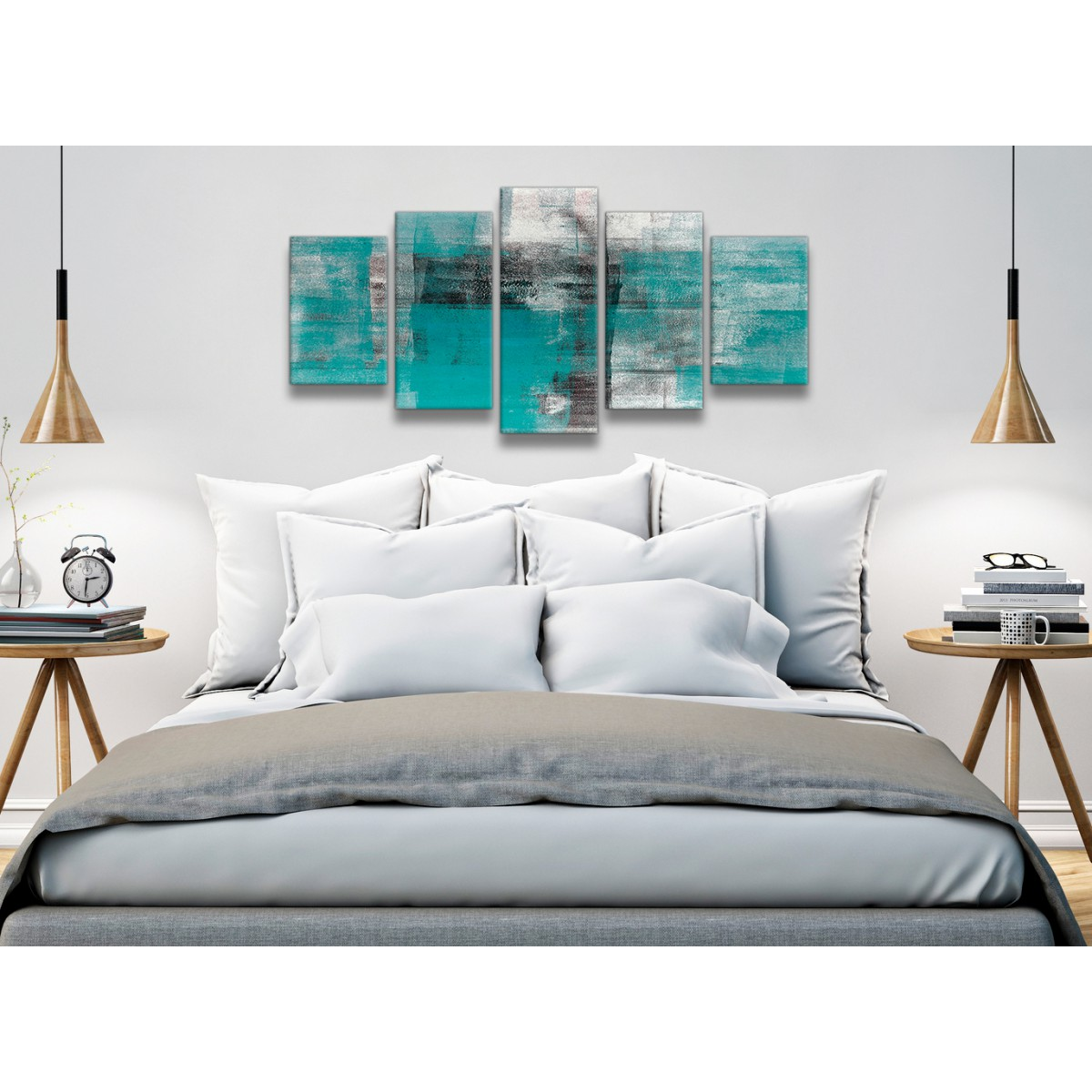5 part teal black white painting abstract office canvas Interiors by design canvas art