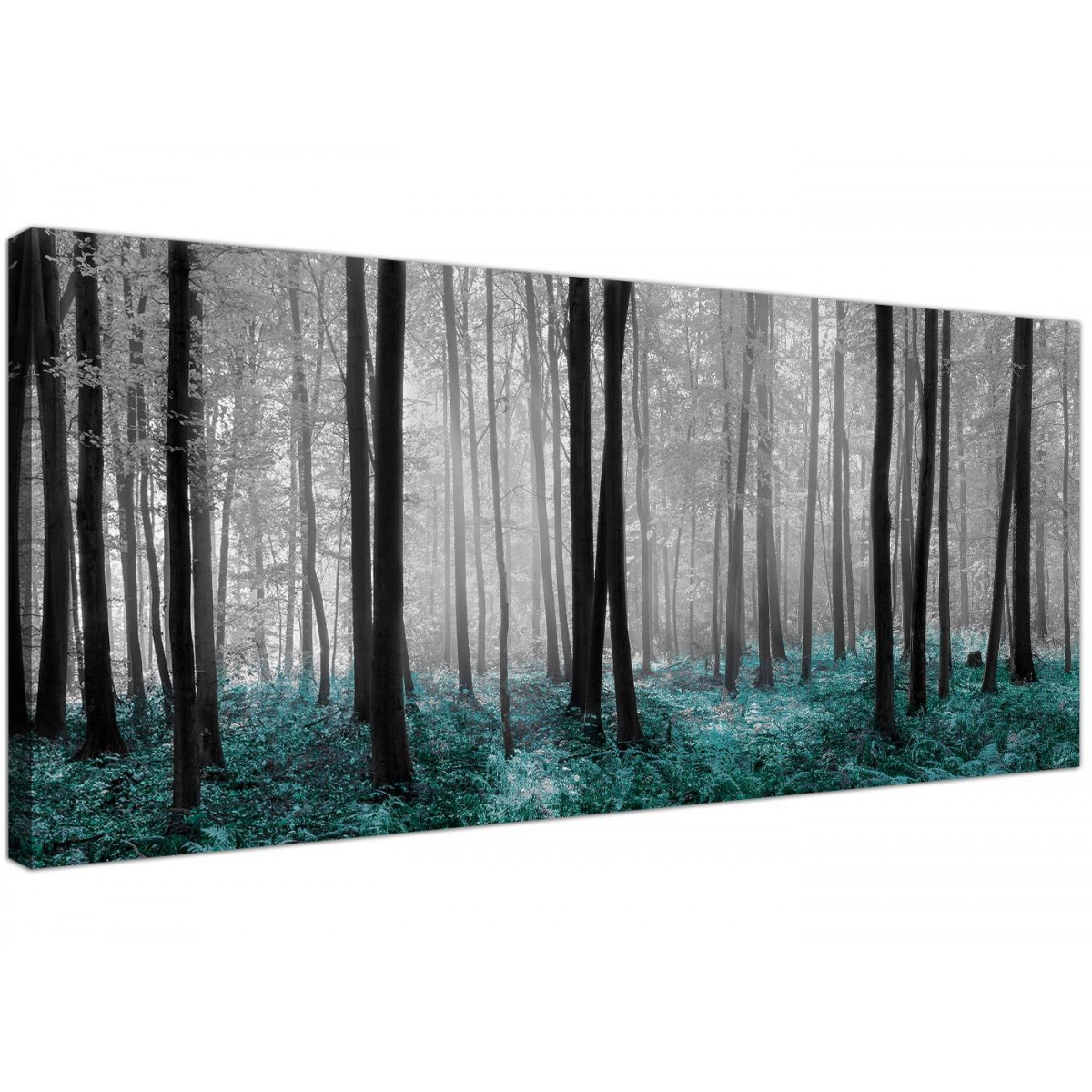 Black white teal trees canvas wall art forest scene for Black white canvas paintings
