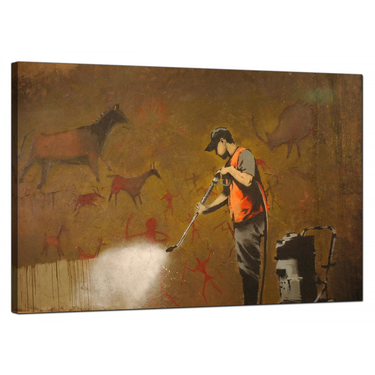 Modern Man Cave Wall Art : Banksy canvas prints cave painting removal