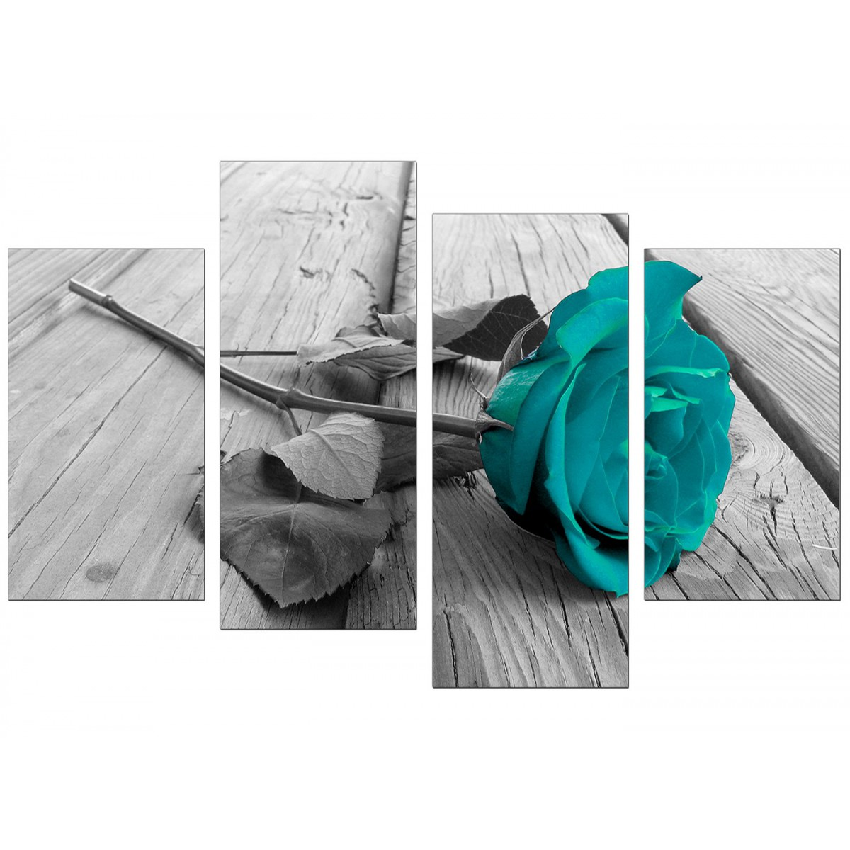 Cabbage Rose Flower Print Purple Abstract Art Kitchen Wall: Canvas Prints UK Of Teal Rose In Black & White For Your