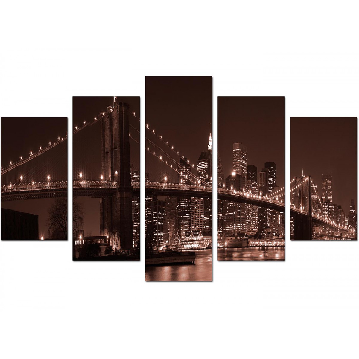 Extra Large New York Canvas Prints 5 Piece in Brown : brown canvas wall art new york brooklyn manhattan extra large set of five 51221 from www.wallfillers.co.uk size 1200 x 1200 jpeg 173kB