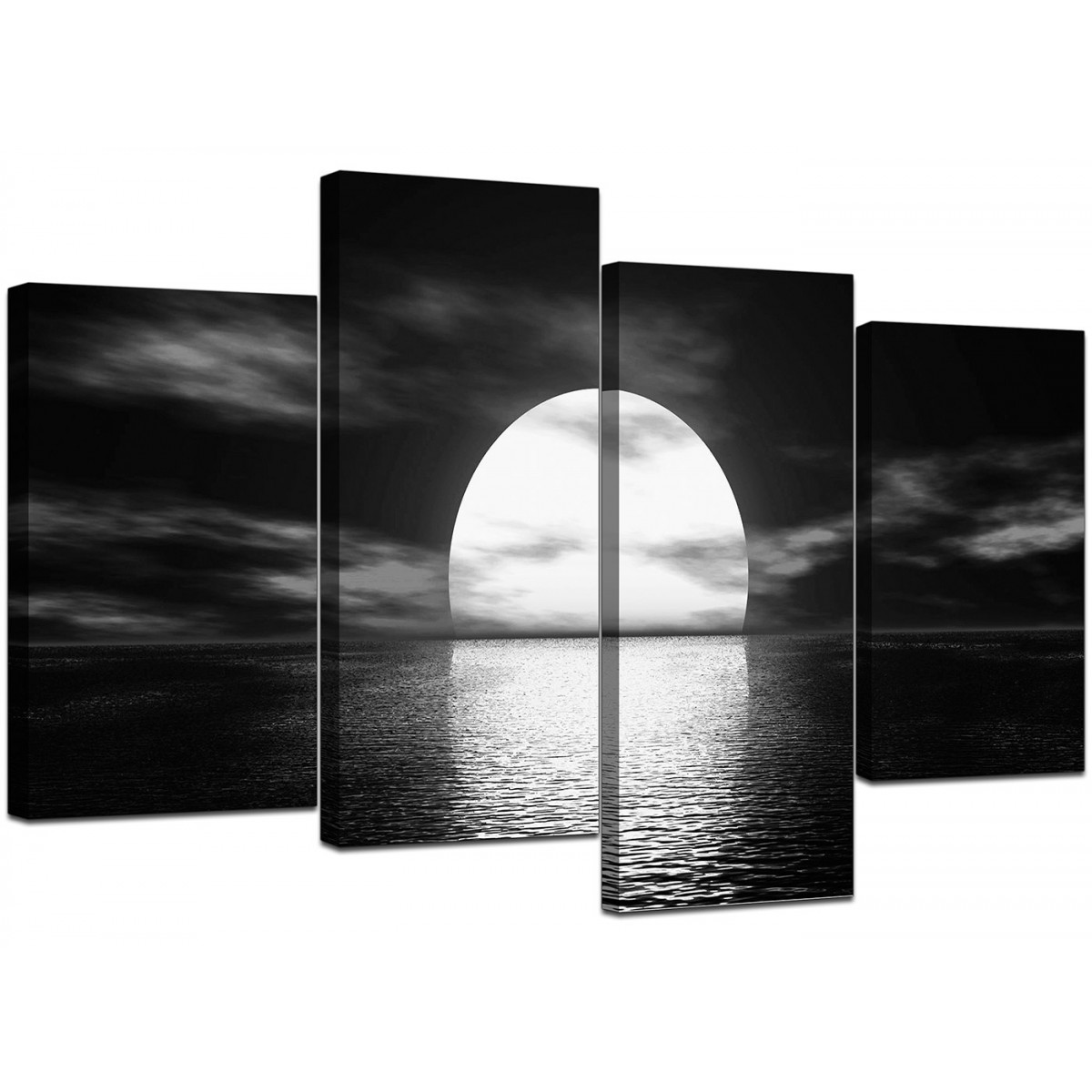 Black and white canvas ocean sunset canvas wall art for Black and white wall painting