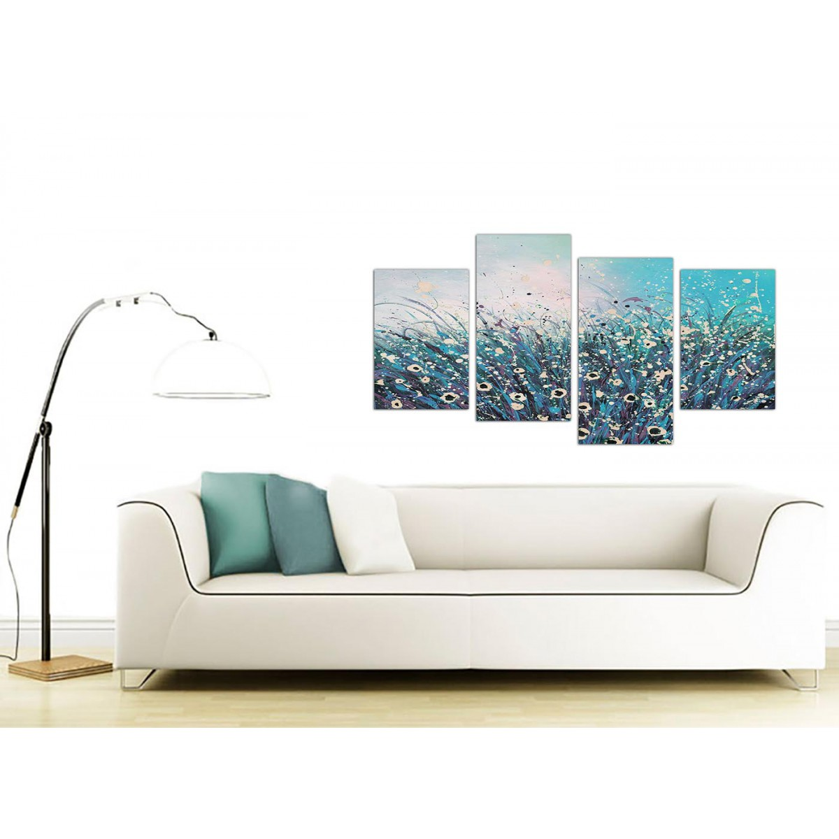 Large teal and cream abstract floral canvas multi 4 panel for Sofa bed 130cm wide