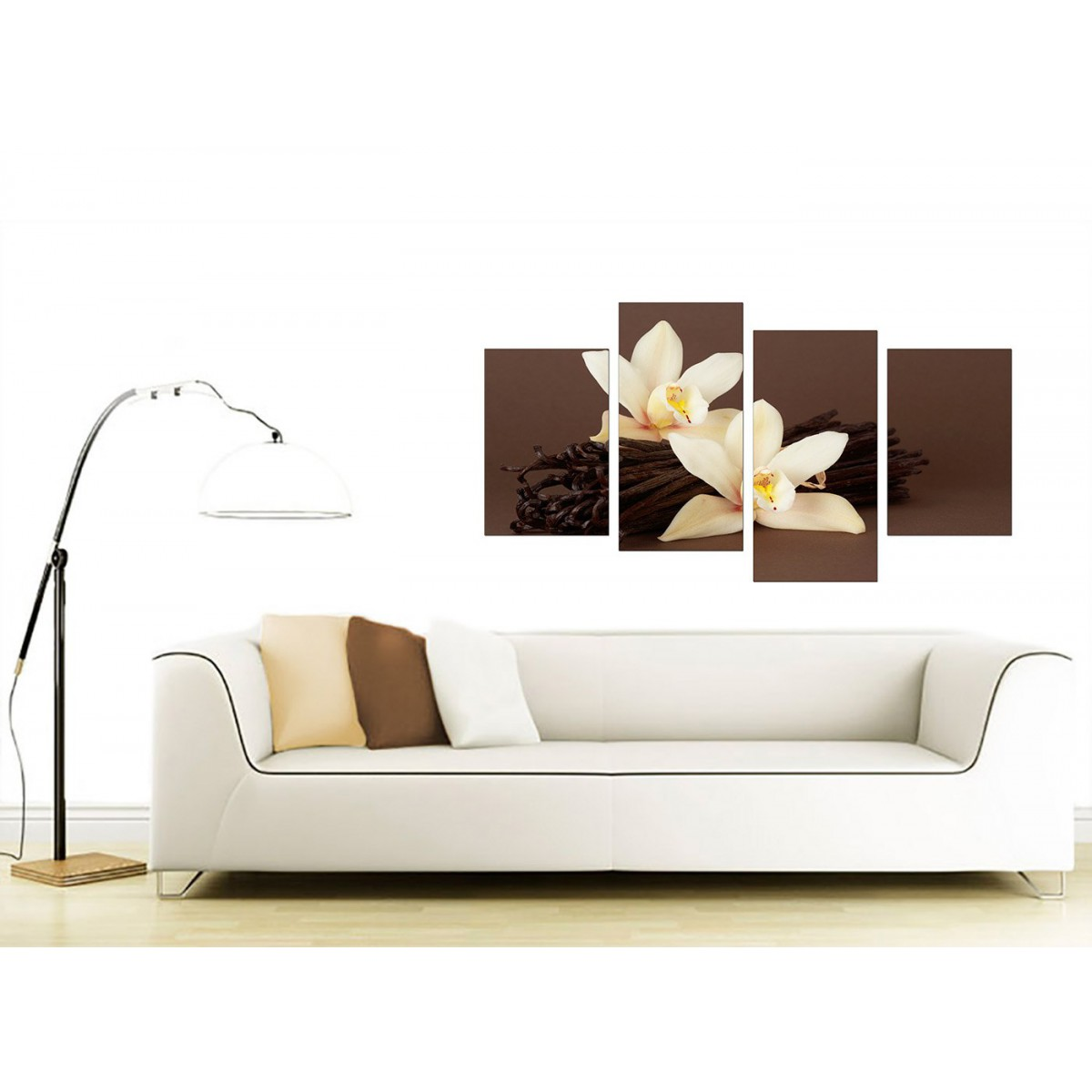 Large brown and cream orchids flower canvas split set of for Sofa bed 130cm wide
