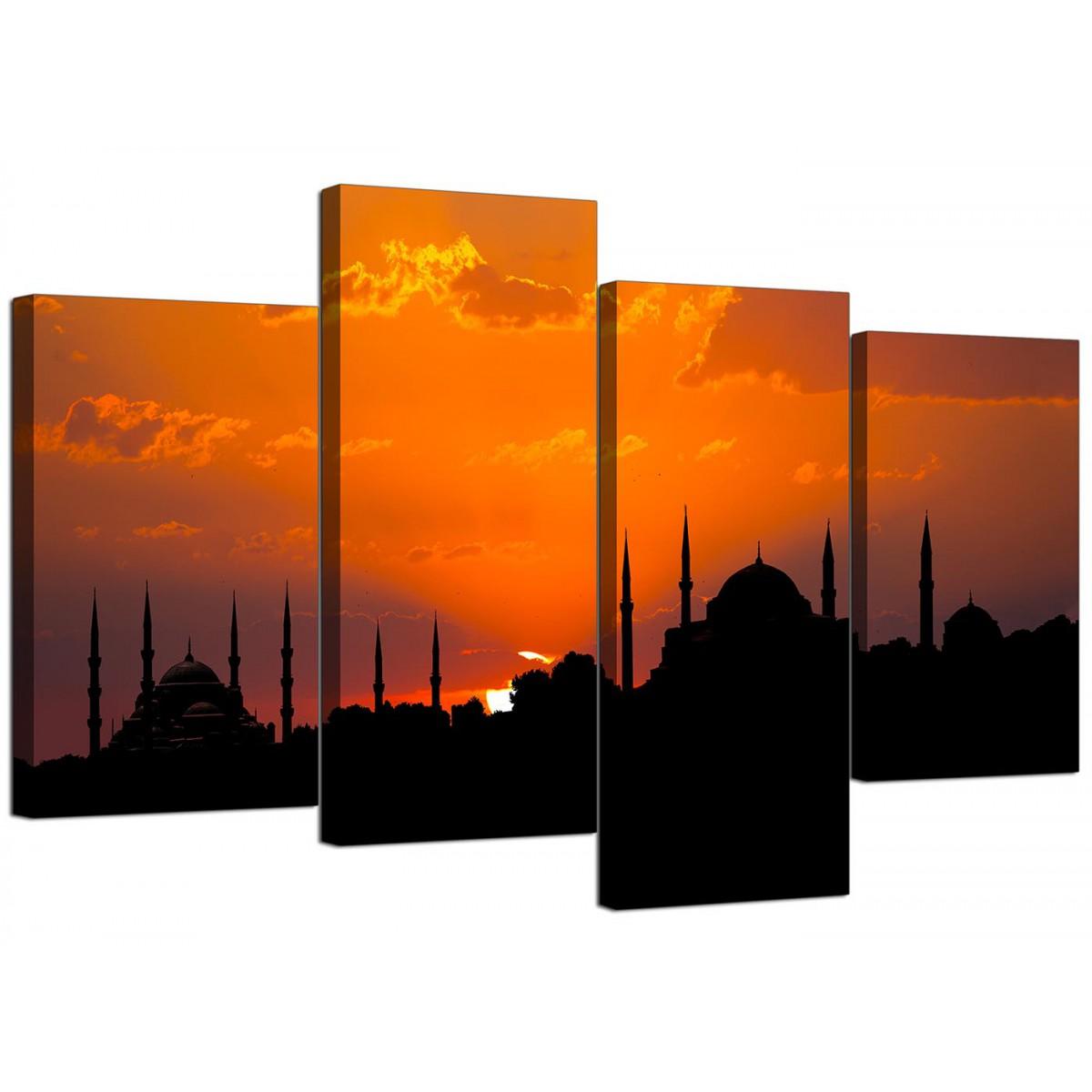 Istanbul Skyline Sunset   Blue Mosque Landscape Canvas   4 Part   130cm    4205 Part 93