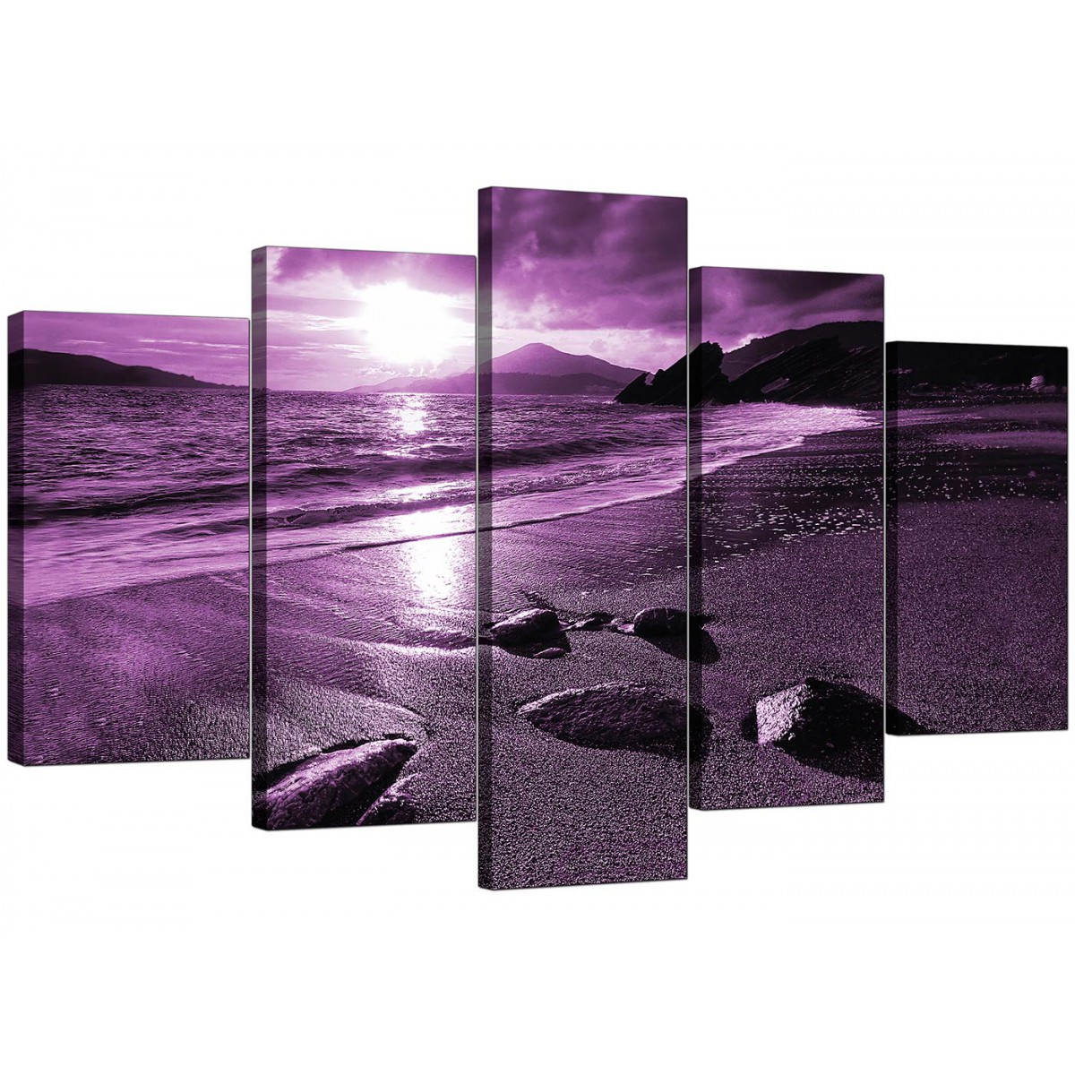extra large sunset canvas art 5 part in purple. Black Bedroom Furniture Sets. Home Design Ideas