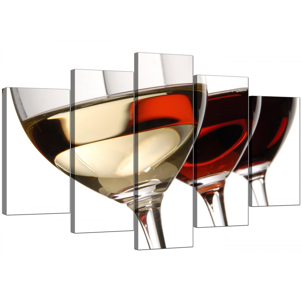 Extra large wine glasses canvas prints 5 panel in red Large wine glasses cheap