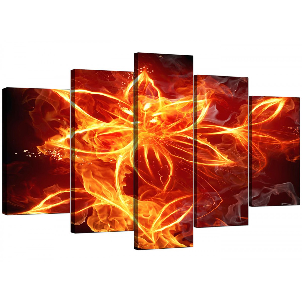 Extra Large Fire Flower Canvas Wall Art 5 Panel In Orange