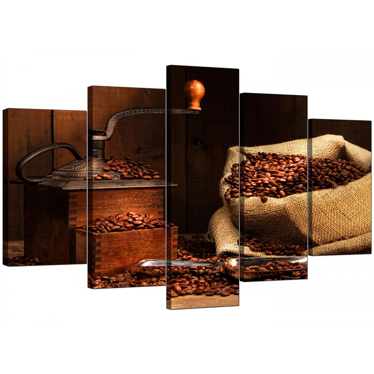 Extra Large Coffee Beans Canvas Wall Art 5 Piece In Brown