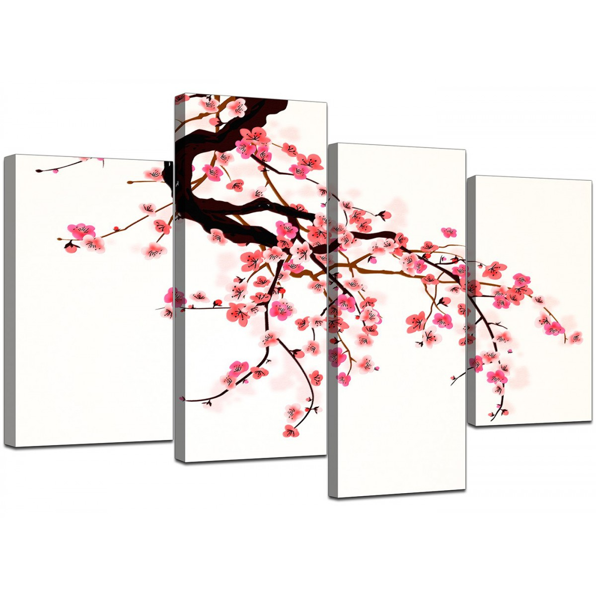 3 Piece Purple Cherry Blossom Muti Panel Abstract Modern: Canvas Prints UK Of Cherry Blossom For Your Living Room