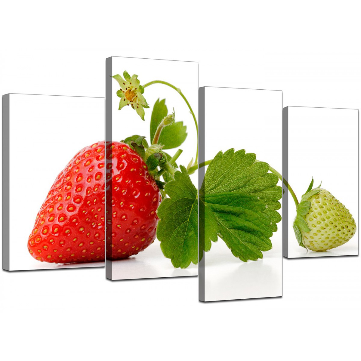 Captivating Red Green Strawberry Modern Fresh Kitchen Canvas   Multi Set Of 4   130cm    4074