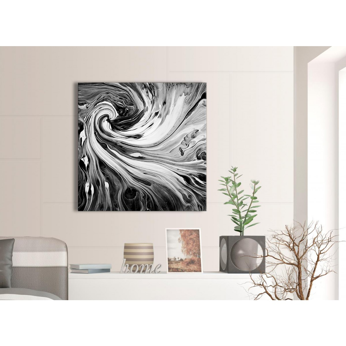 black white grey swirls modern abstract canvas wall art 79cm square 1s354l. Black Bedroom Furniture Sets. Home Design Ideas