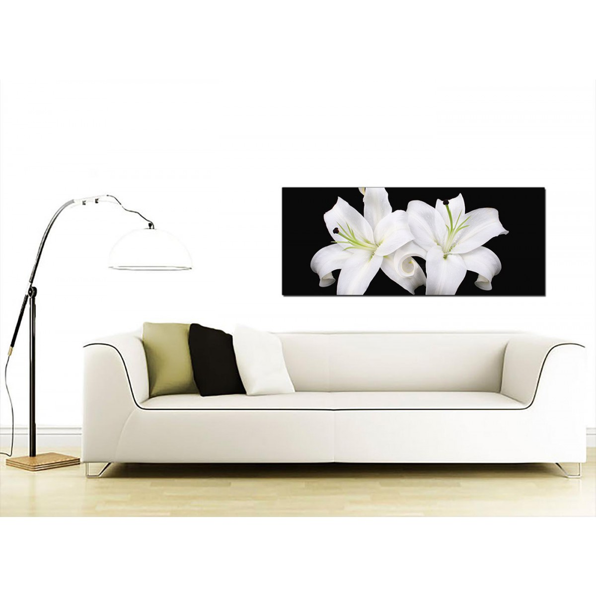 large black and white canvas prints of lily flowers. Black Bedroom Furniture Sets. Home Design Ideas