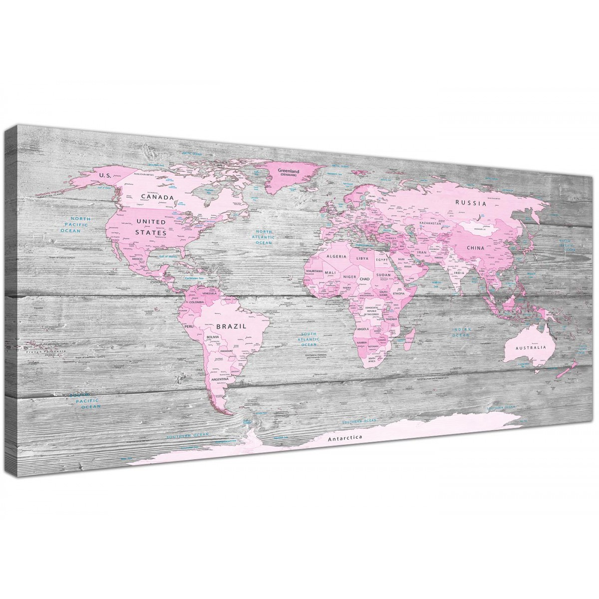 Large pink grey map of world atlas canvas wall art print for Decor mural grand format
