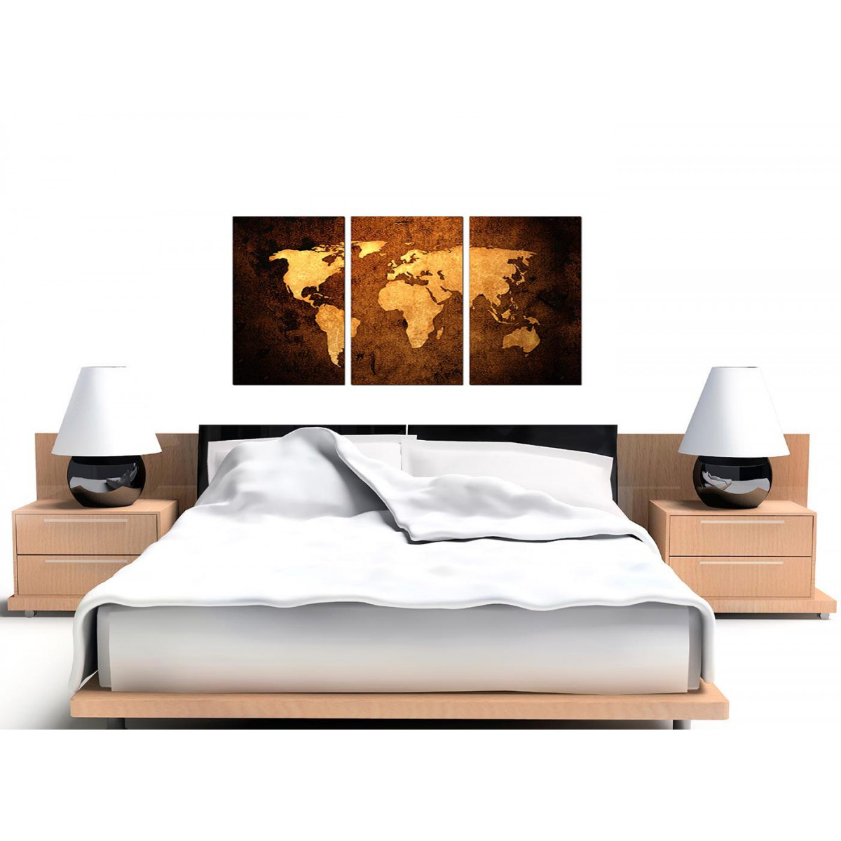 World map canvas wall art set of 3 for your bedroom modern vintage old world map brown cream canvas set of 3 125cm 3188 gumiabroncs Images