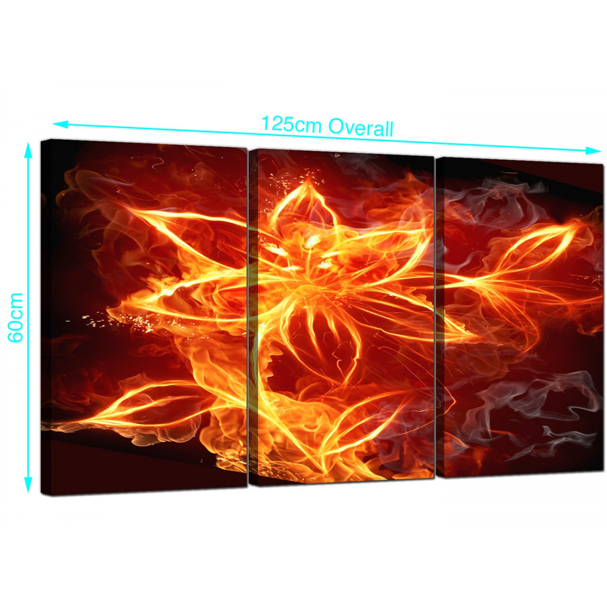 setoffireflowercanvaswallartorange - fire flower canvas wall art panel for your living room