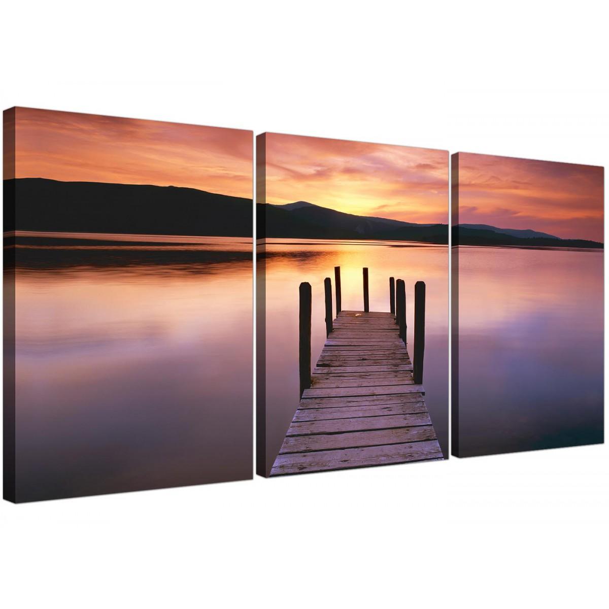 cheap lake sunset canvas prints set of 3 for your living room. Black Bedroom Furniture Sets. Home Design Ideas