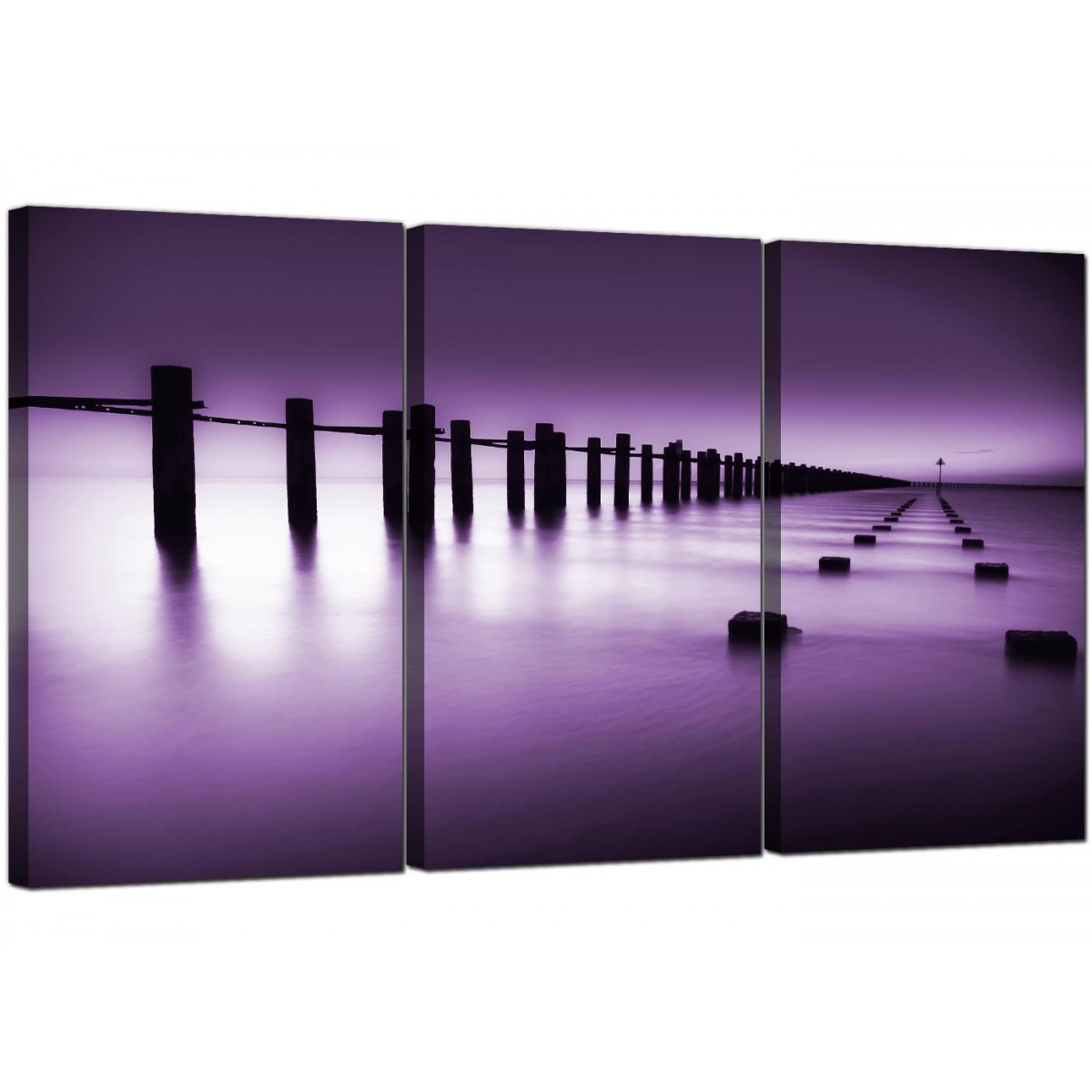 modern purple white beach scene landscape canvas set of 3 125cm