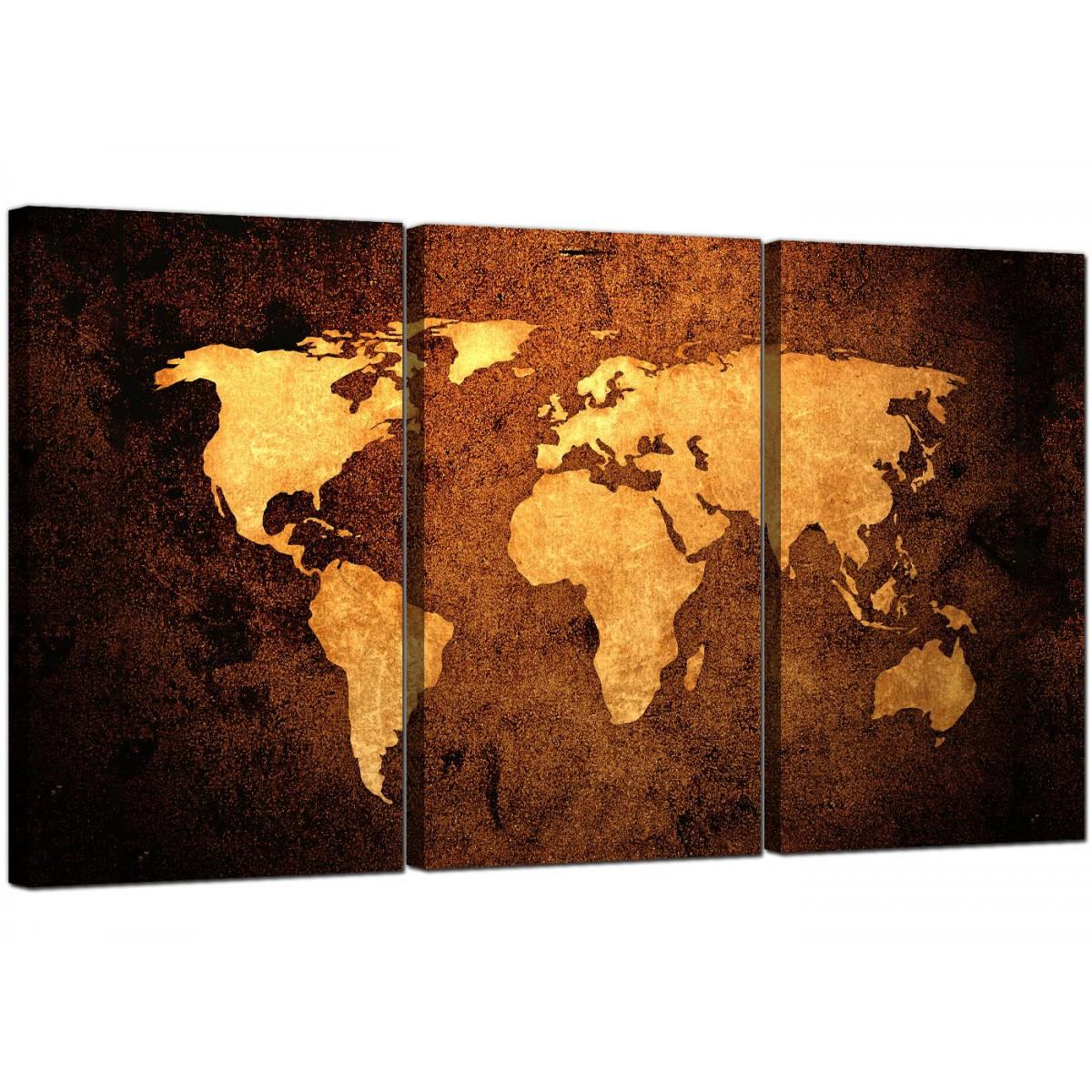 vintage world map canvas wall art set of 3 for your bedroom. Black Bedroom Furniture Sets. Home Design Ideas