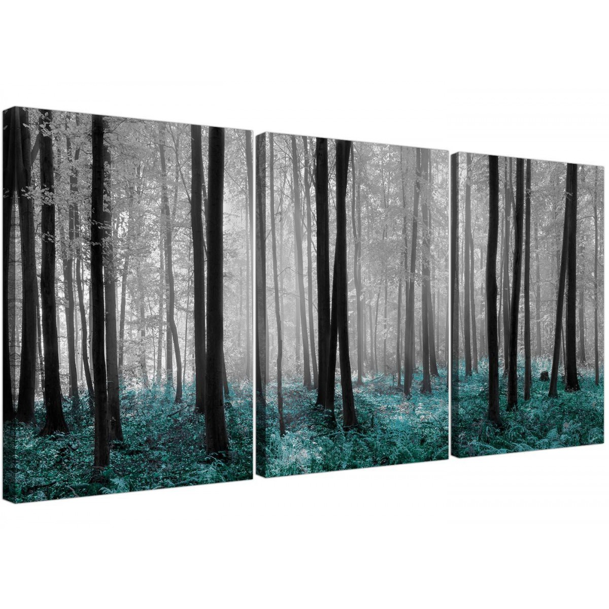 Set of three canvas art of teal forest trees prints for Teal wall art
