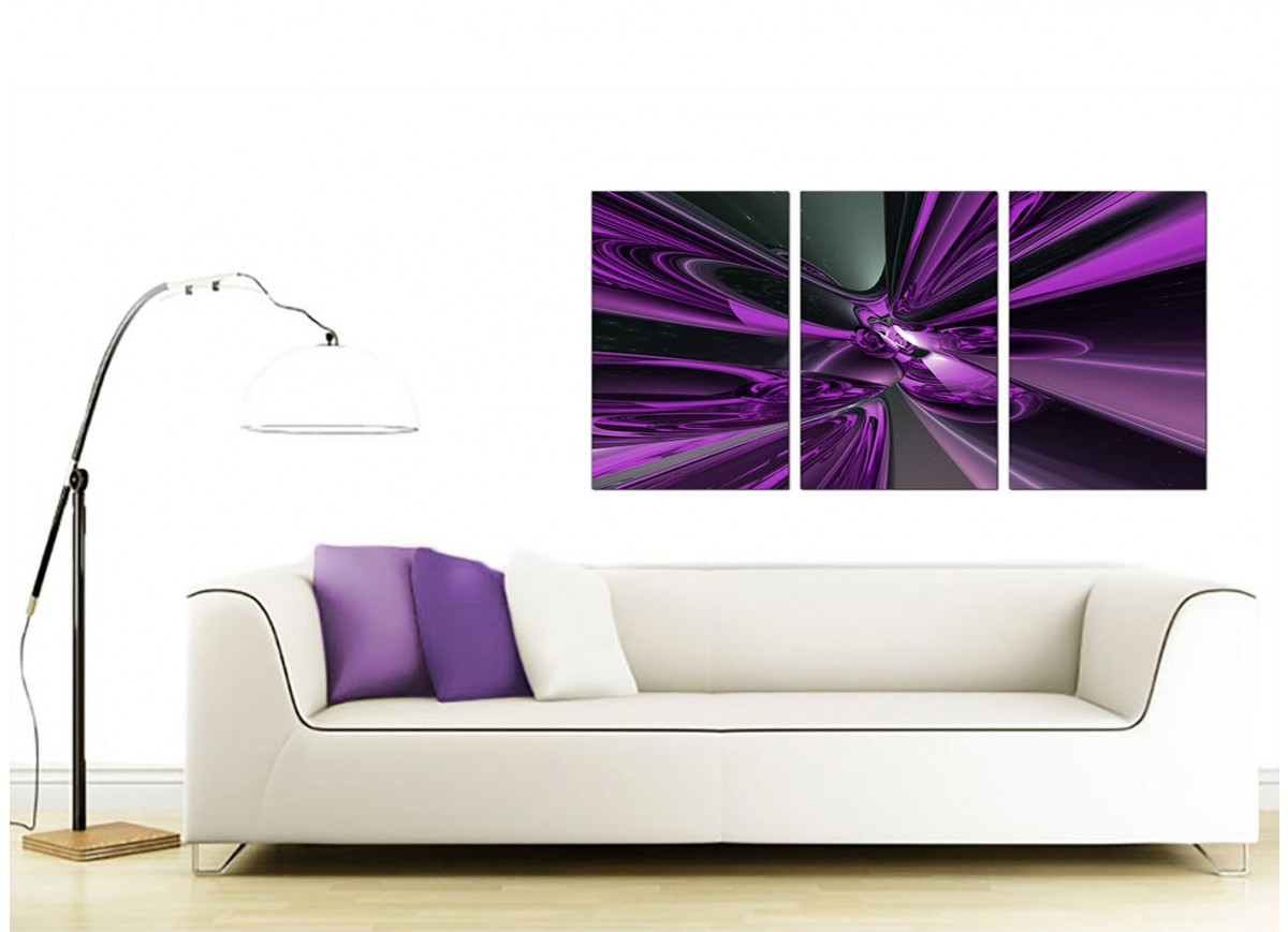 3 panel abstract canvas wall art in purple 3018. Black Bedroom Furniture Sets. Home Design Ideas