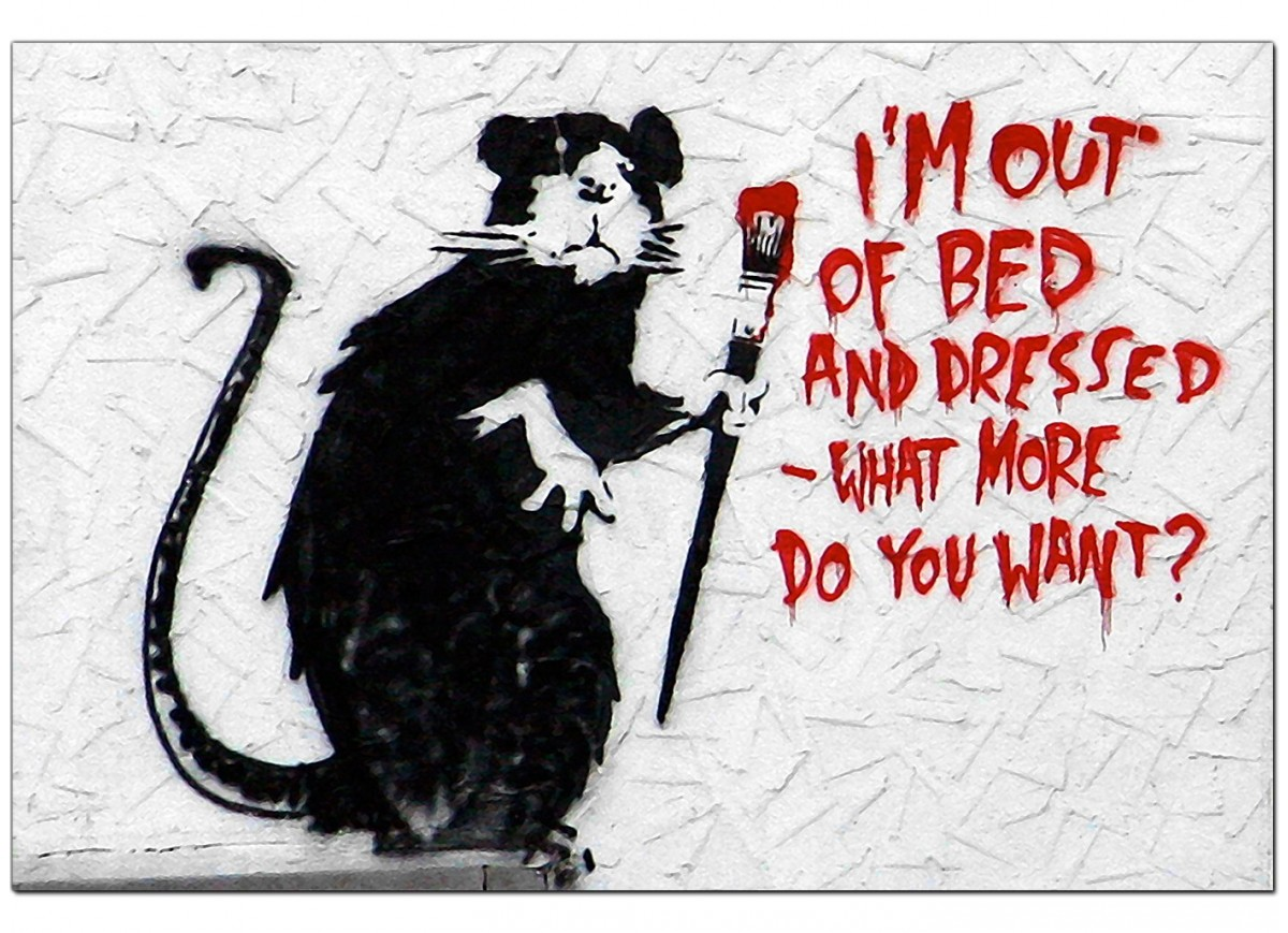 Banksy Canvas Pictures Rat with a Paintbrush Im Out of  : banksy canvas prints rat with a paintbrush im out of bed and dressed what more do you want usa 73cm by 50cm 1r176m from www.wallfillers.co.uk size 1200 x 869 jpeg 246kB