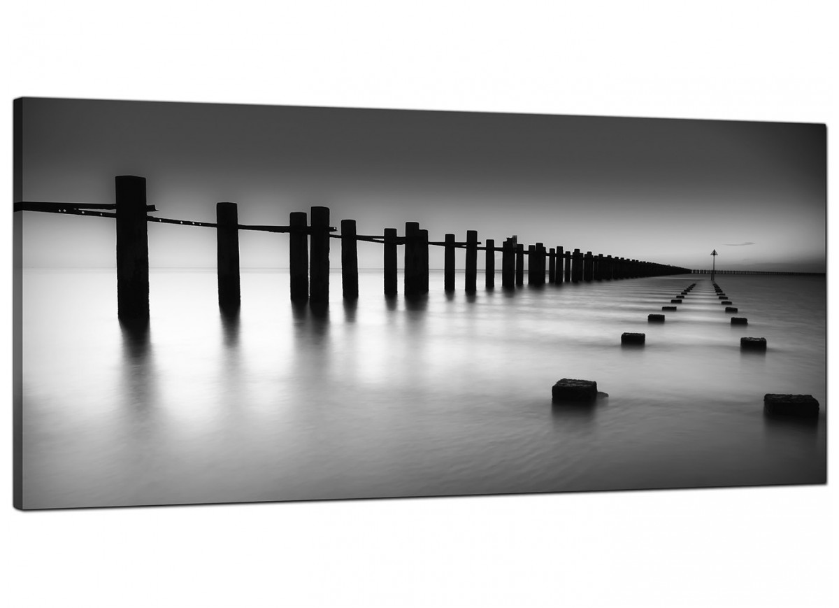Modern black and white canvas art of the sea Black and white canvas art