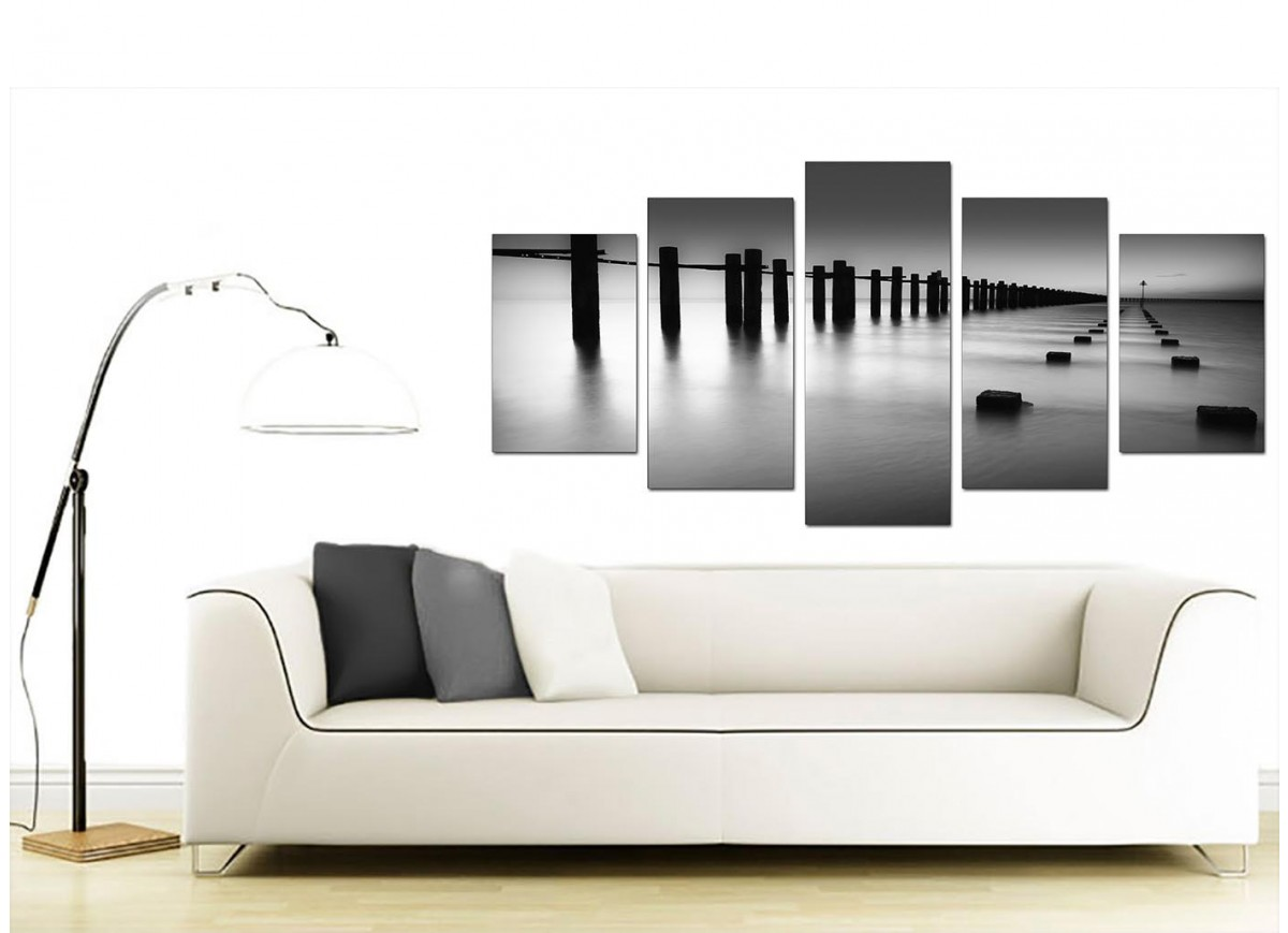 Extra large sea canvas prints 5 piece in black white for Cheap black and white prints