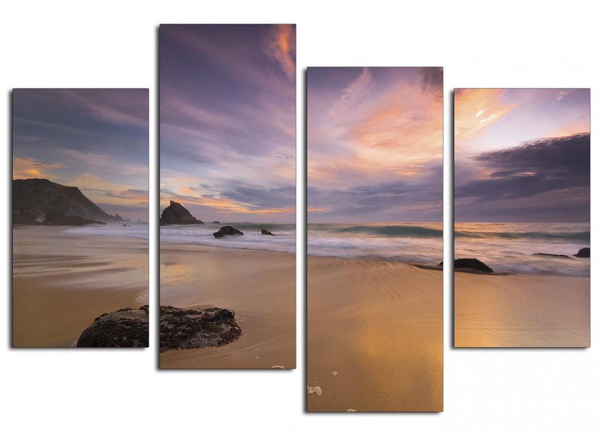 Canvas prints of a beach sunset for your kitchen 4 panel for Cheap prints and posters