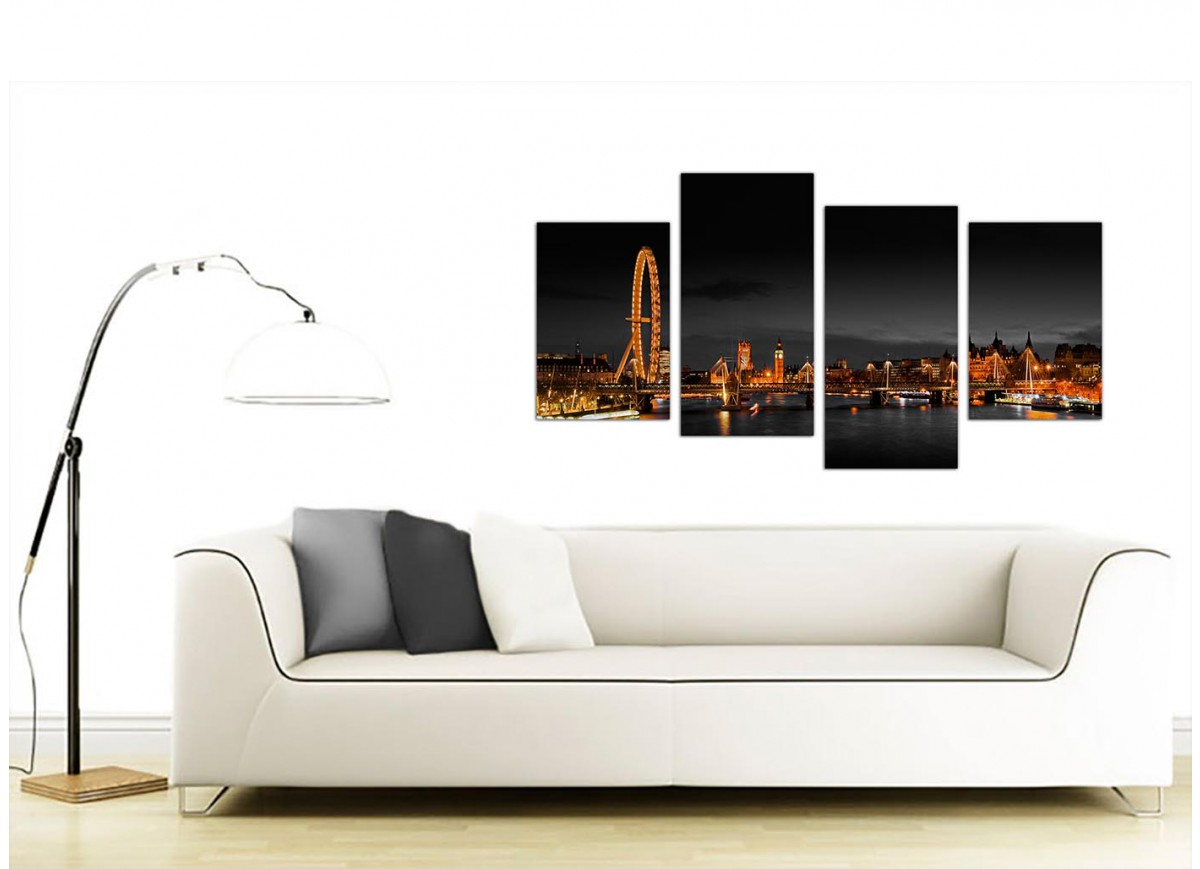 Wall Art For Your Office : Canvas wall art of night time london eye for your office
