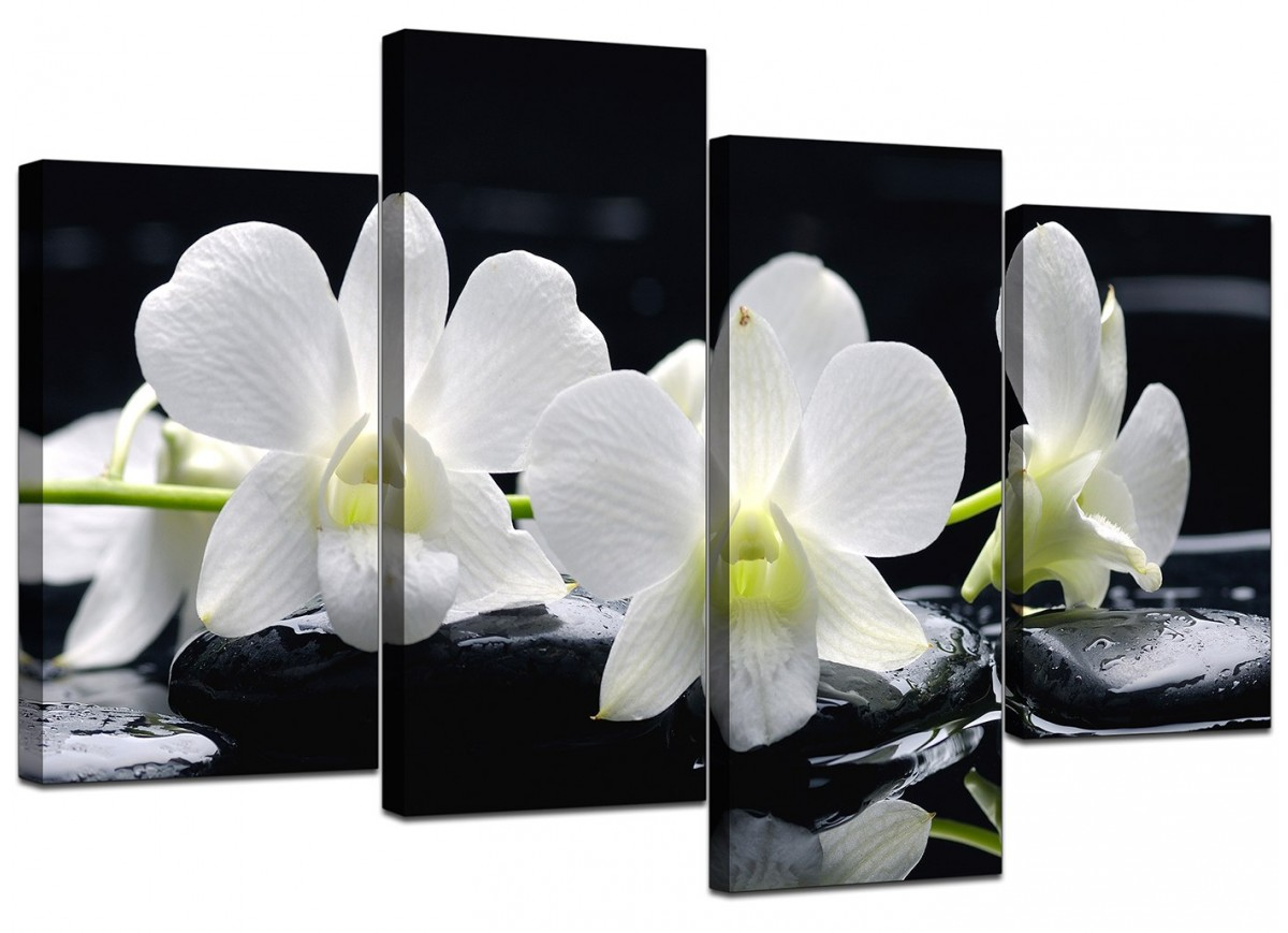 Black white orchids canvas wall art 130cm x 67cm for Cheap black and white prints