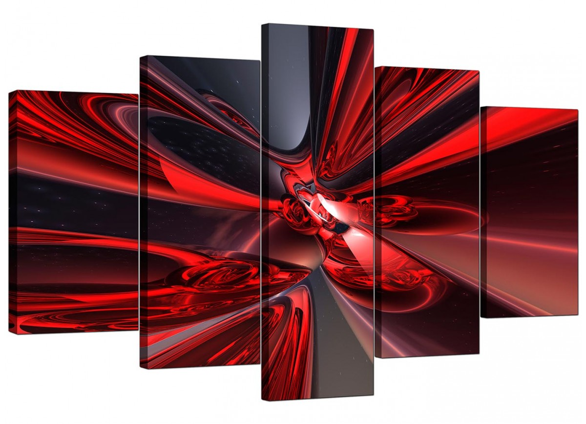 Extra large red abstract canvas prints 5 panel for Red wall art