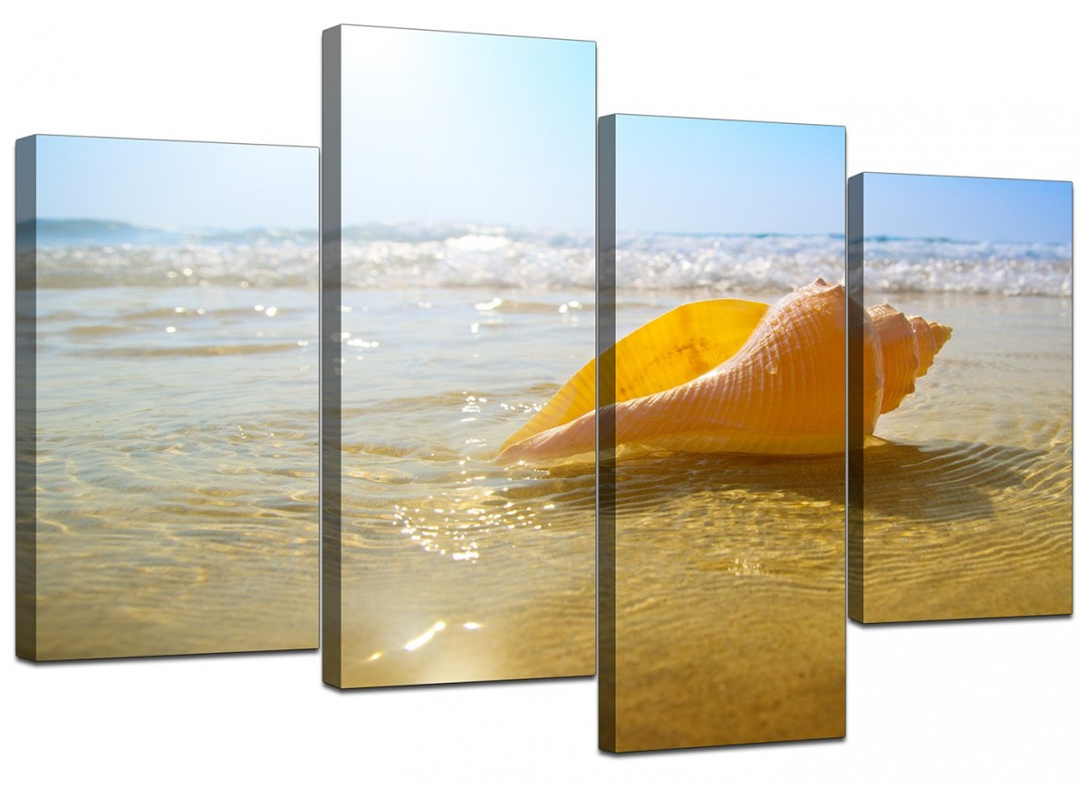 Home Canvas Wall Art Of Beach For Your Bathroom 4 Part