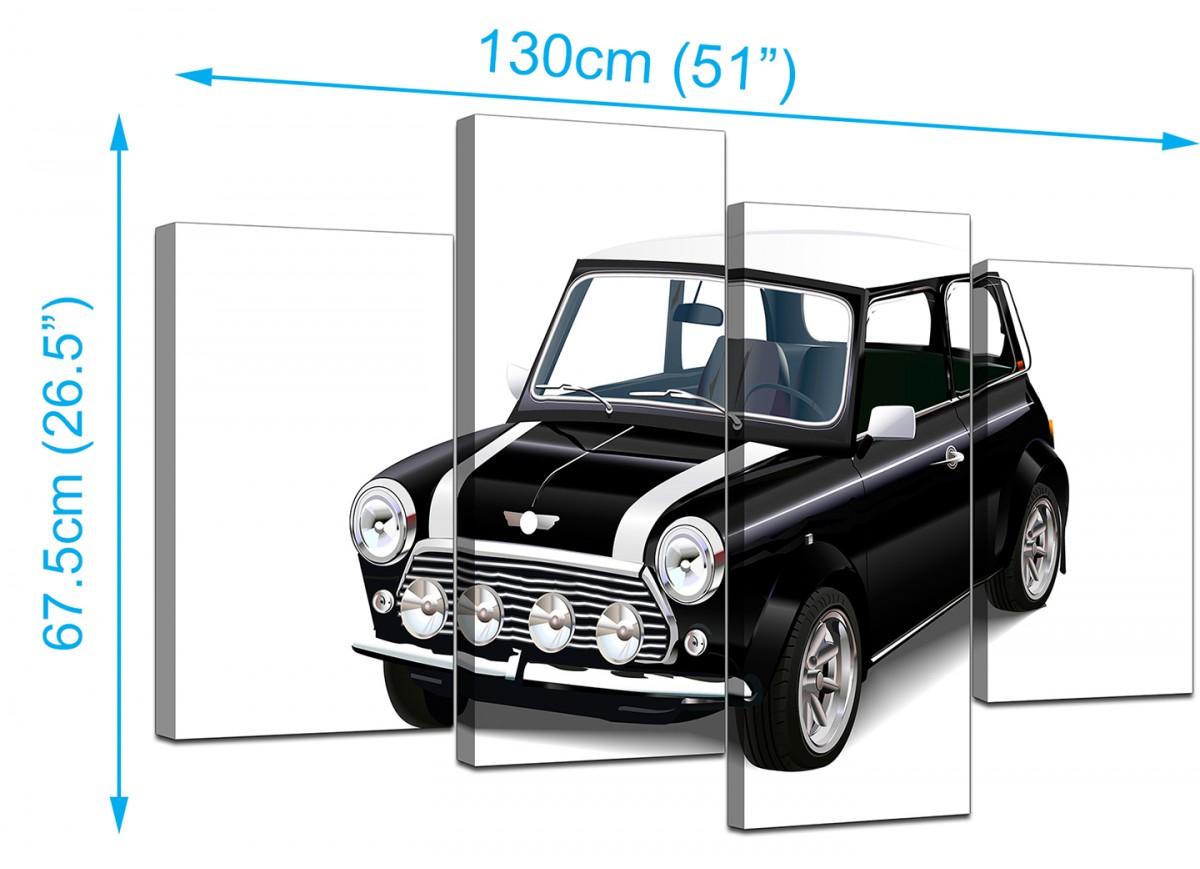 Black & White Mini Cooper Car Canvas Wall Art