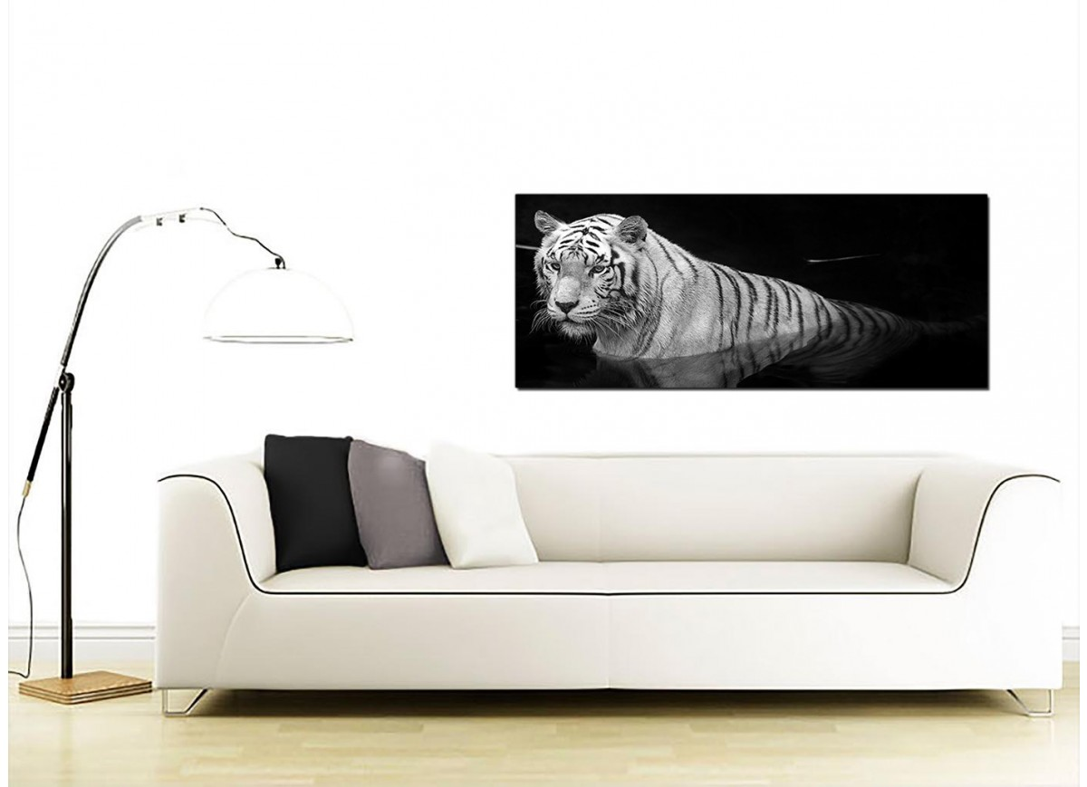 large black and white canvas wall art of a tiger. Black Bedroom Furniture Sets. Home Design Ideas