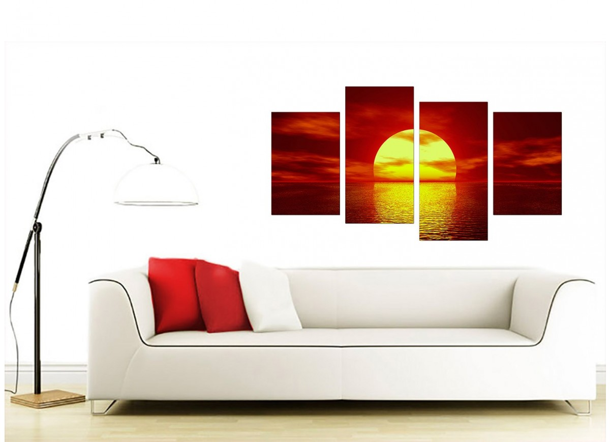 Sunset Canvas Wall Art In Red For Living Room
