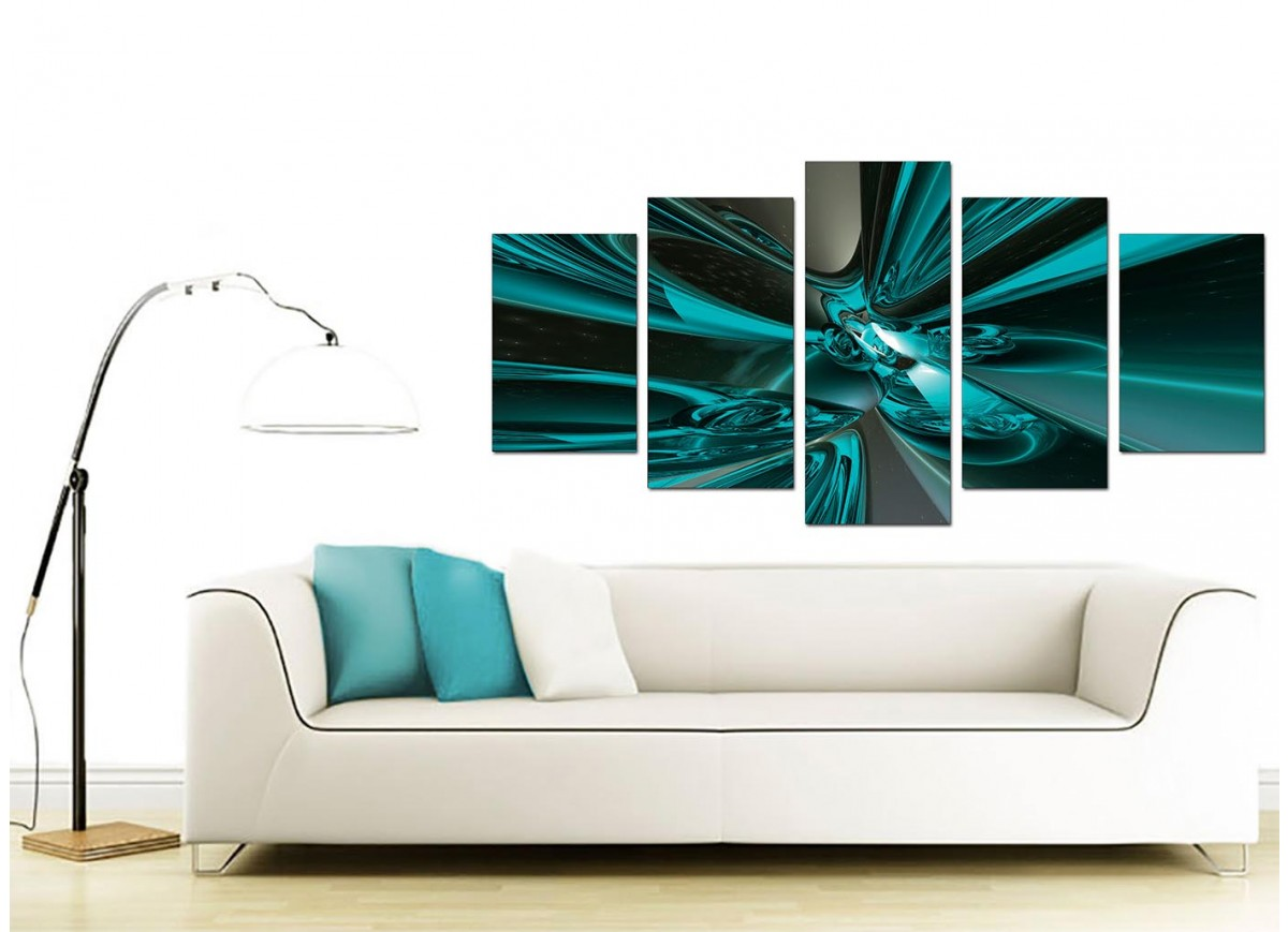 extra large teal abstract canvas prints 5 piece. Black Bedroom Furniture Sets. Home Design Ideas