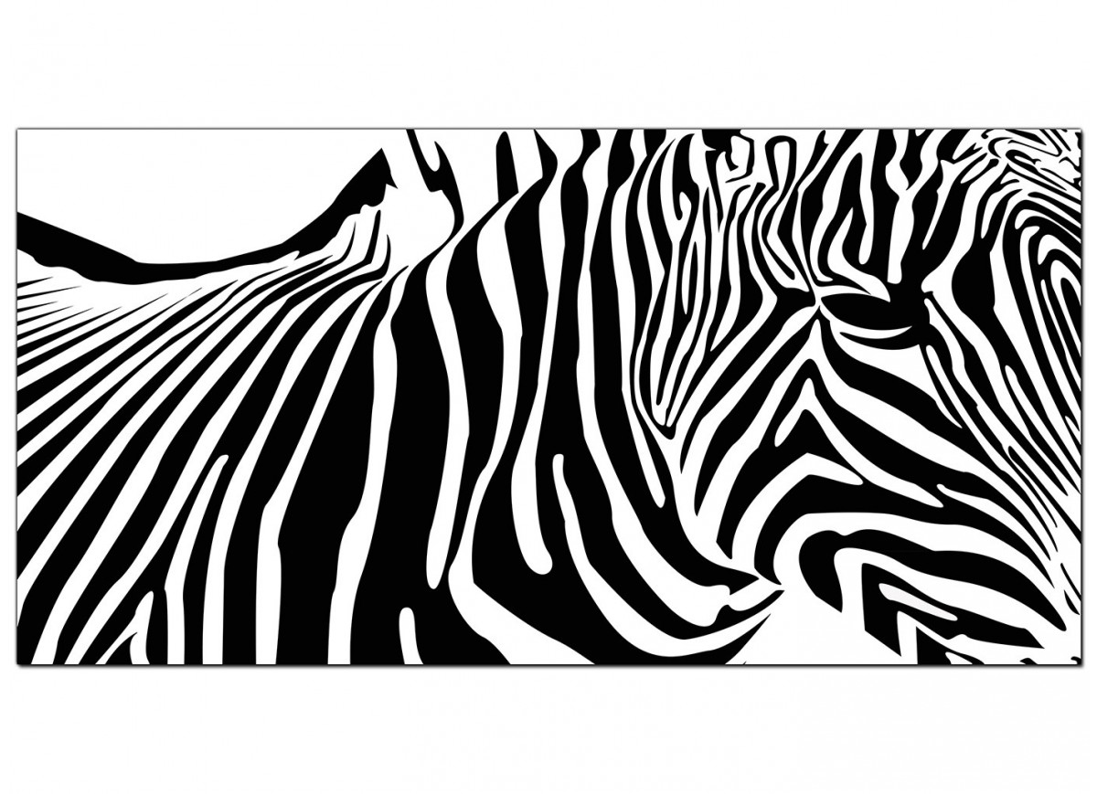 cheap black and white canvas art of an abstract zebra. Black Bedroom Furniture Sets. Home Design Ideas