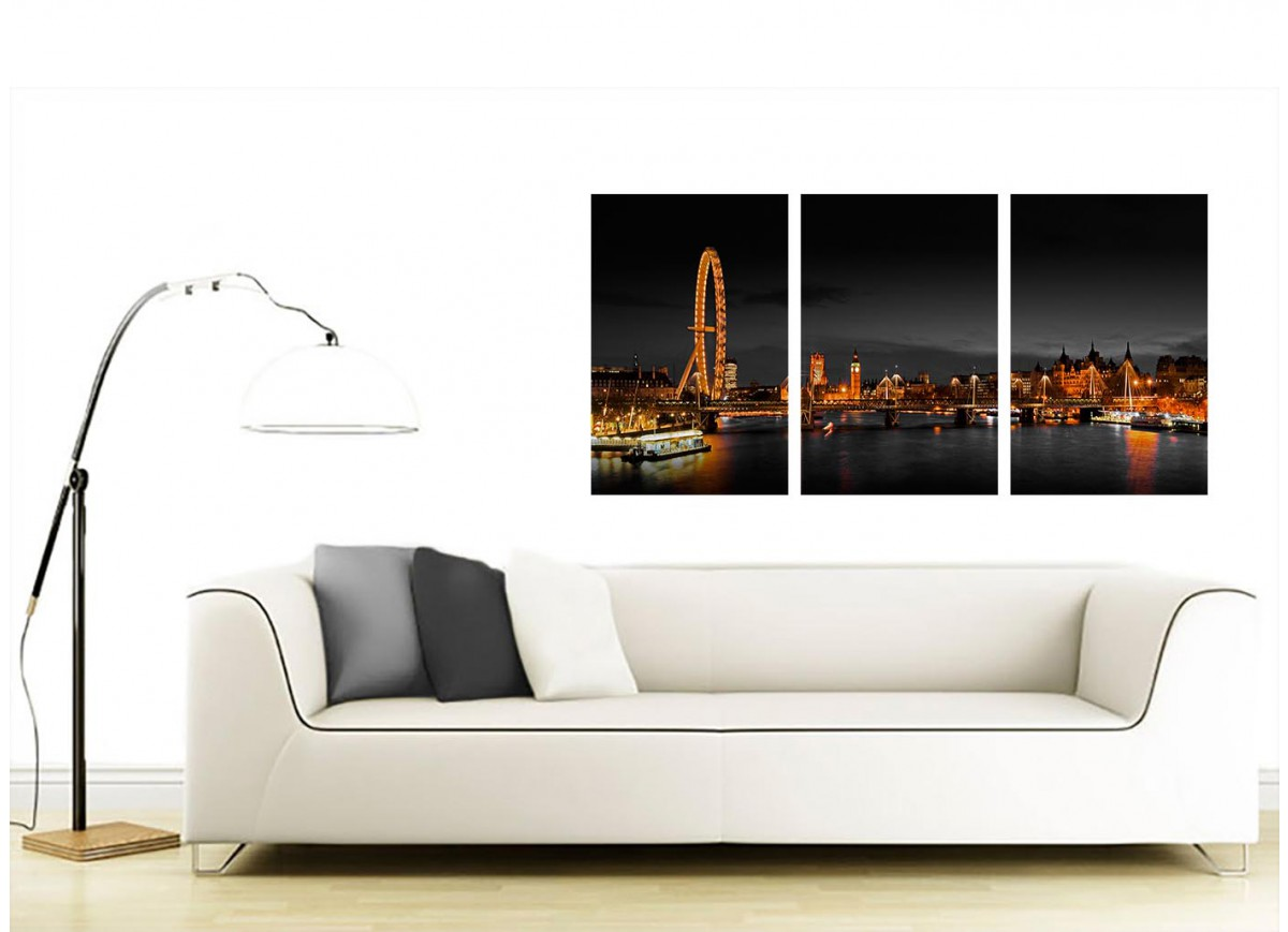 cheap canvas pictures of a night time london scene with iconic london