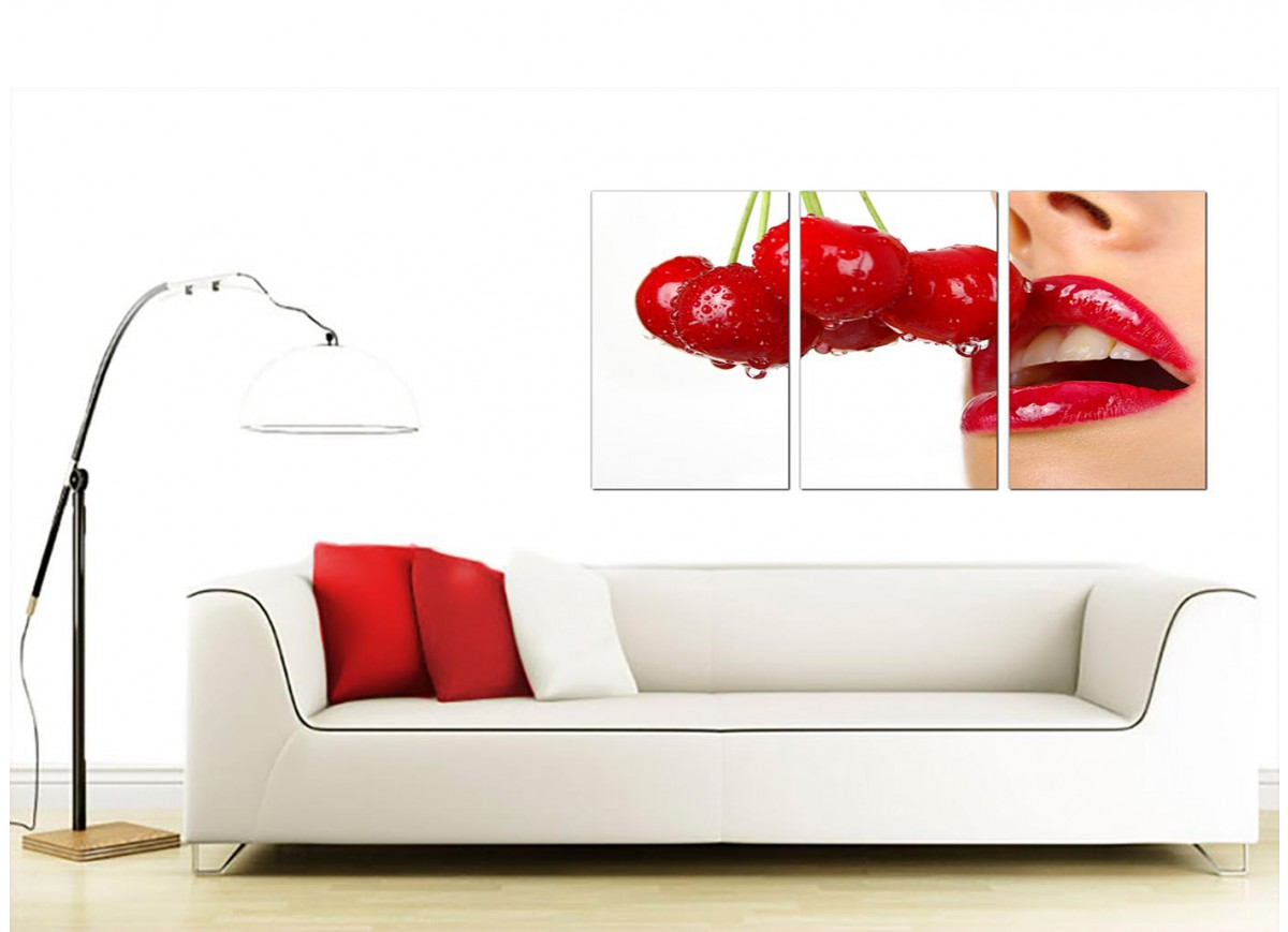 Set Of Three Canvas Prints Of Cherry Lips In Red