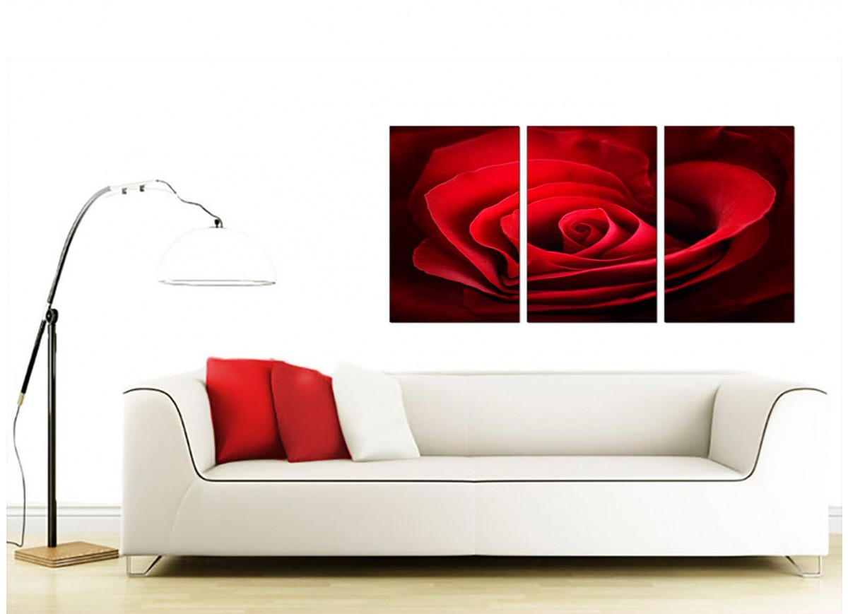 Set Of 3 Canvas Pictures Of Rose In Red