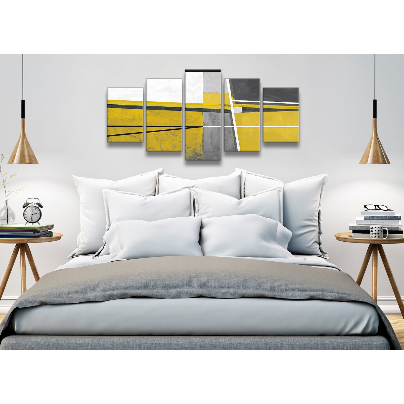5 Panel Mustard Yellow Grey Painting Abstract Bedroom