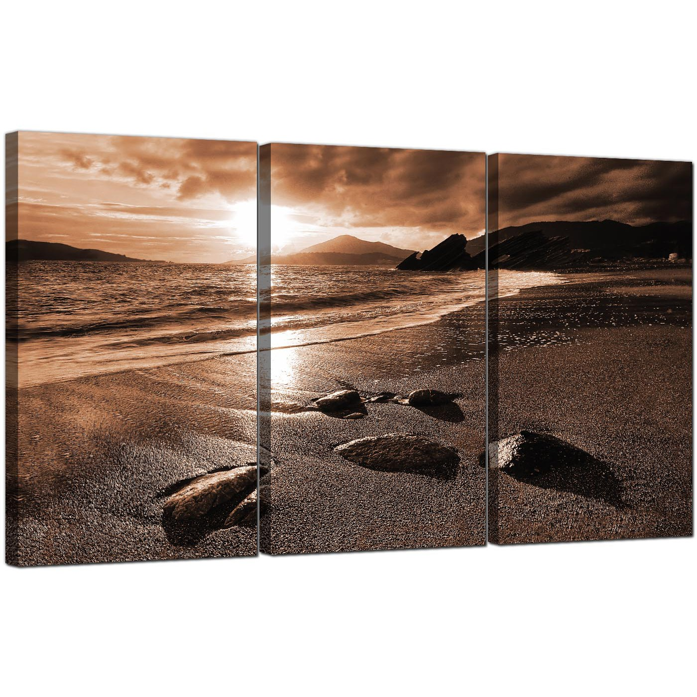 Beach sunset canvas art set of 3 for your hallway for Set of three canvas paintings