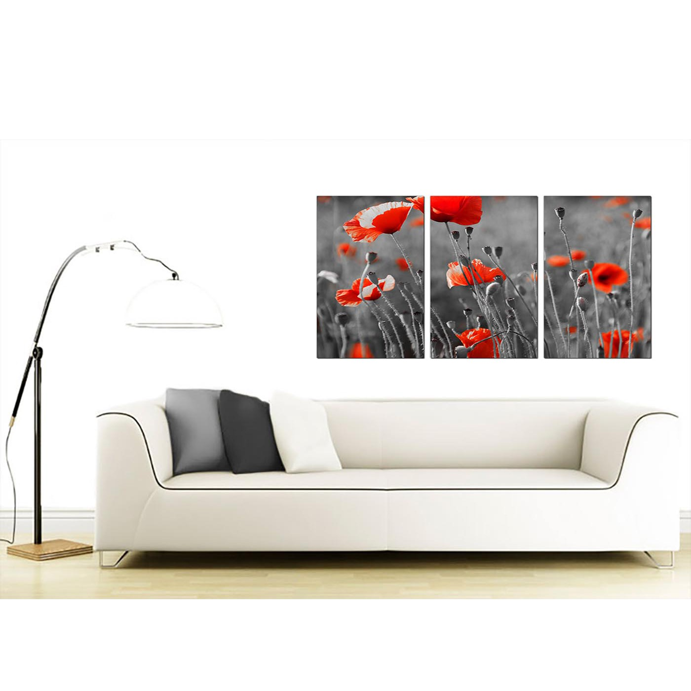 Red poppy canvas art set of 3 for your dining room for Canvas dining