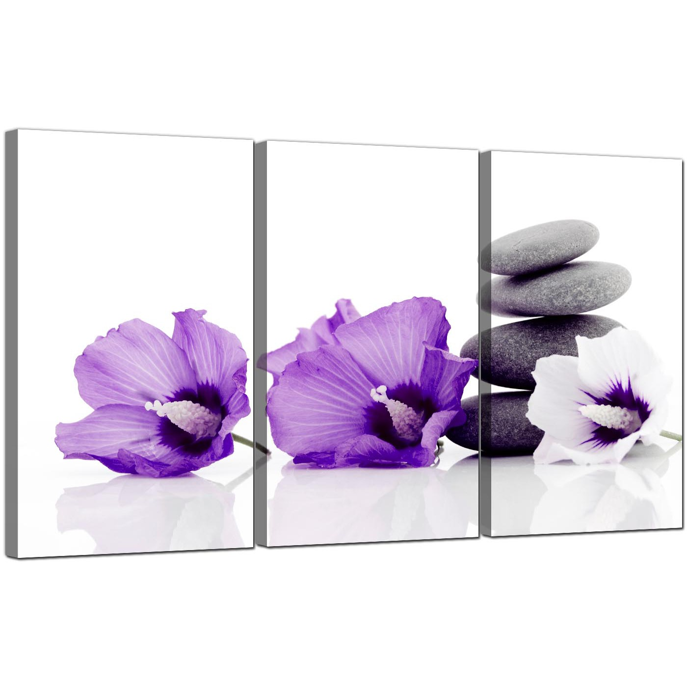 flowers canvas wall art set of 3 for your dining room. Black Bedroom Furniture Sets. Home Design Ideas