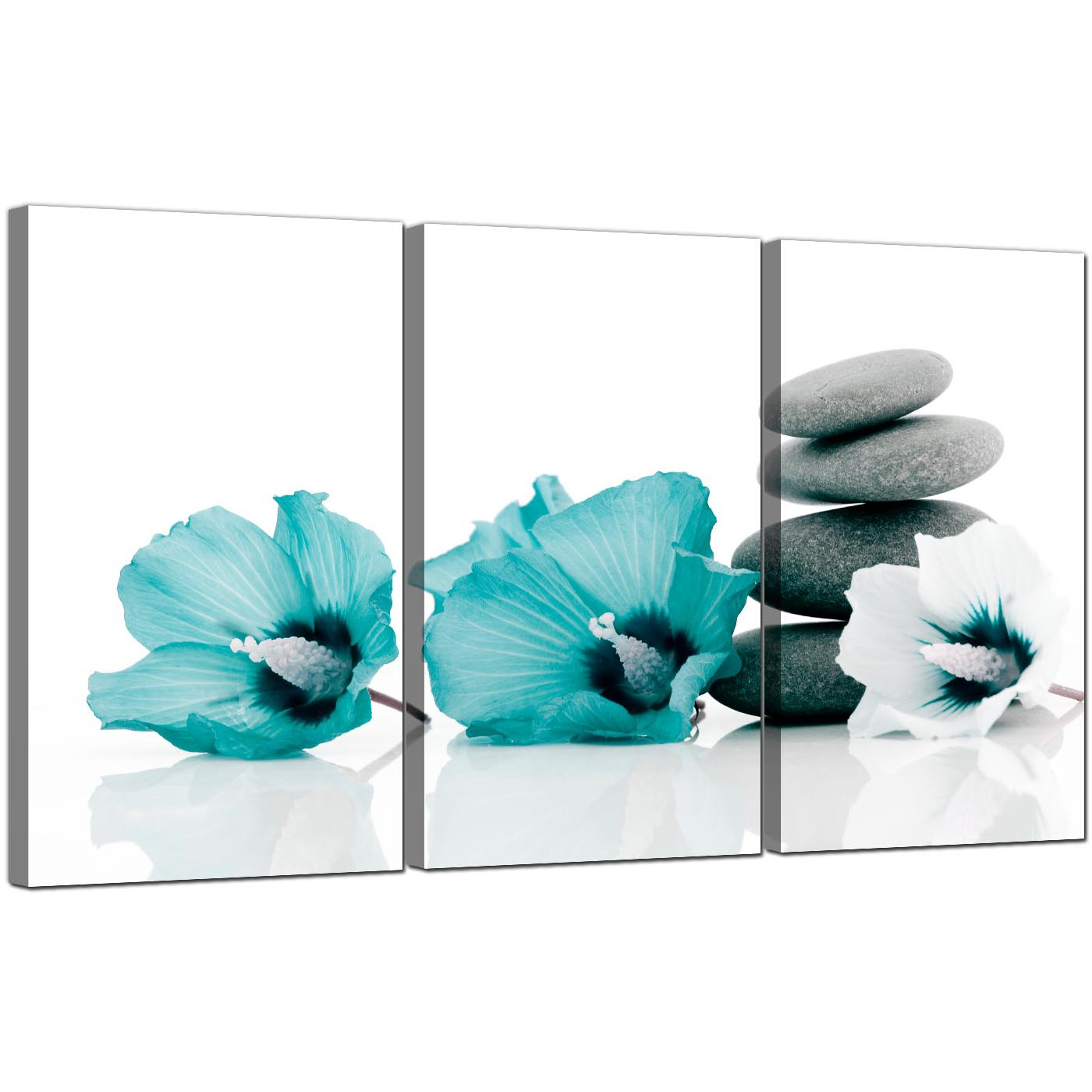Display Gallery Item 5 3 Part Floral Blue Green Canvas Pictures Hibiscus 3072 Display Gallery Item 6
