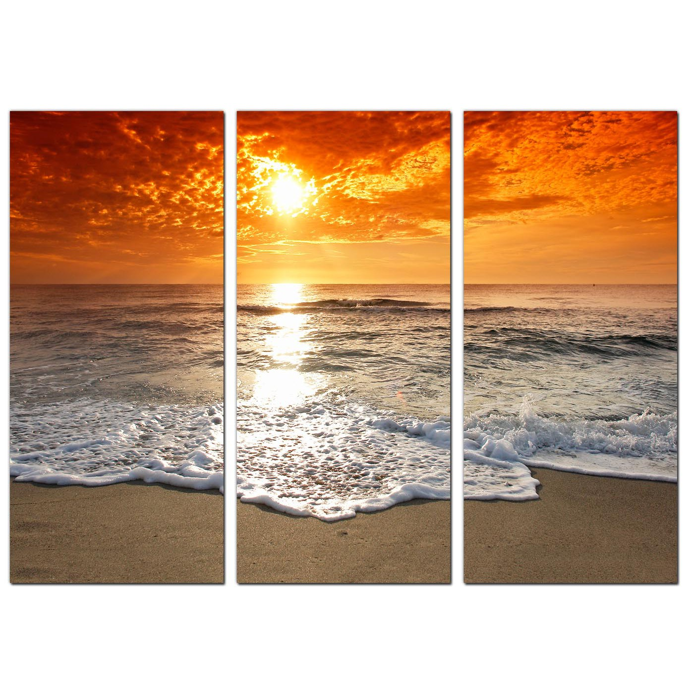 Cheap beach sunset canvas prints uk set of 3 for your for 3 by 3 prints