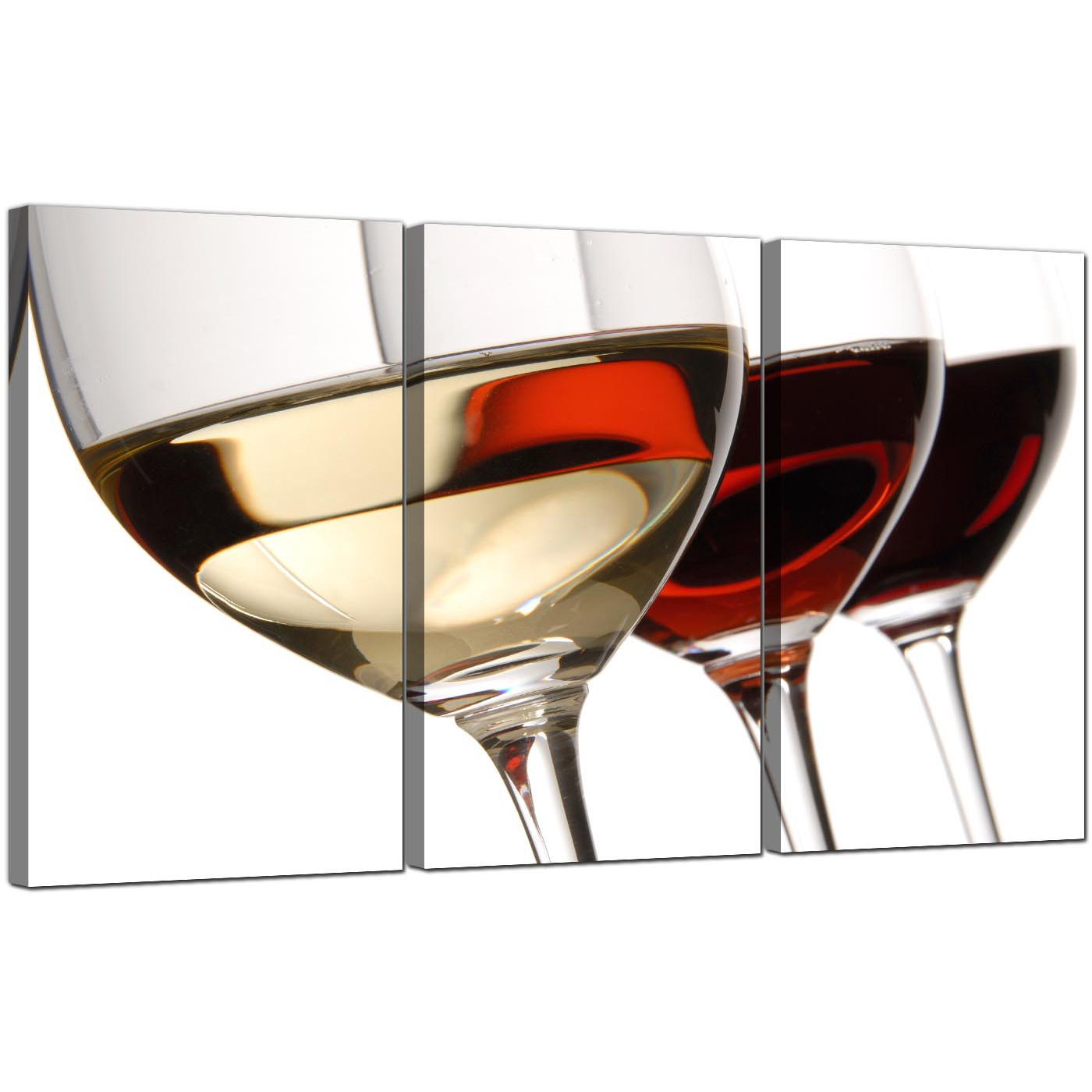 Display Gallery Item 5 Three Panel Food Drink Canvas Wall Art Wine Glasses 3067 6