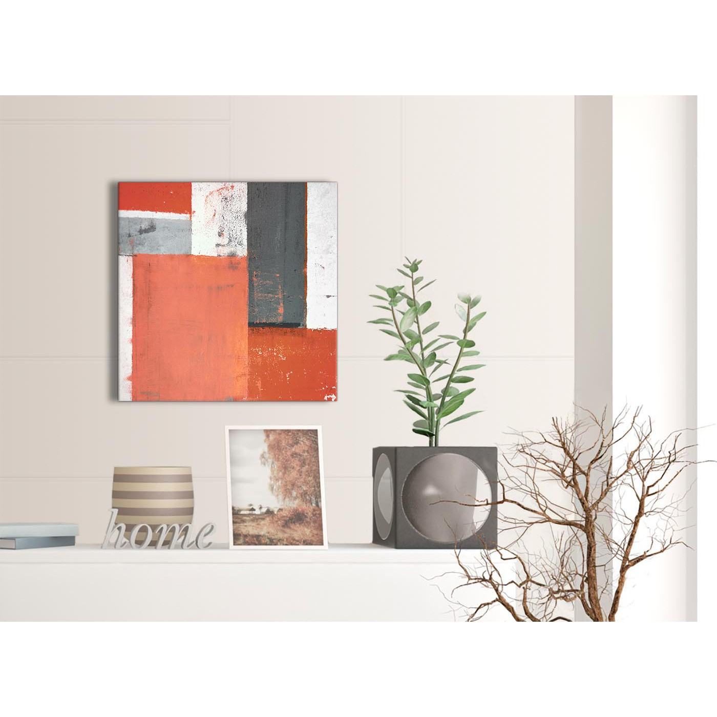 Display Gallery Item 3; Contemporary Coral Grey Abstract Painting Canvas Wall  Art Pictures Modern 49cm Square 1S336S For Your Living Display Gallery Item  4